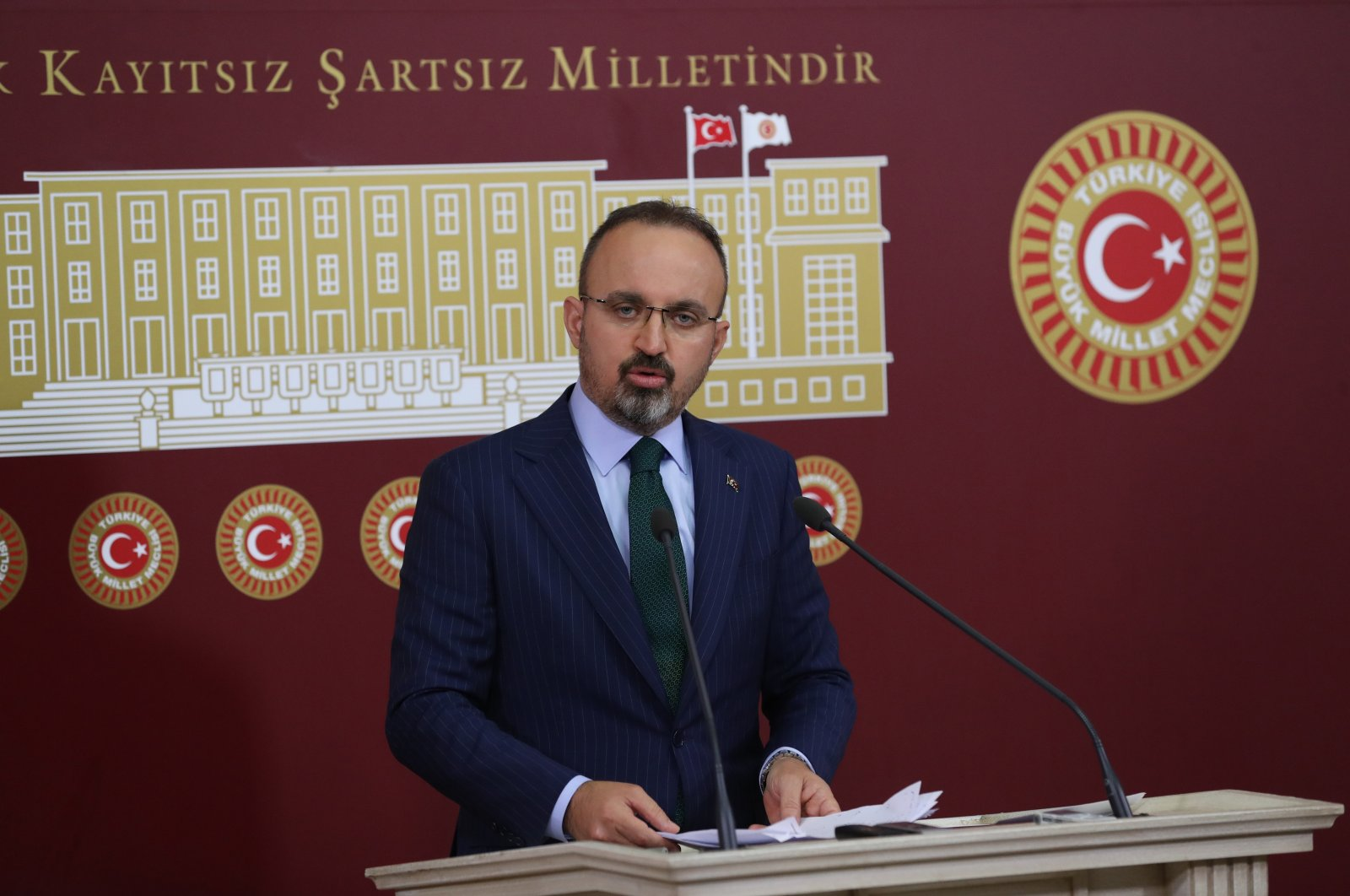 Justice and Development Party (AK Party) Group Deputy Chairperson Bülent Turan speaks to reporters at a news conference at the Turkish Parliament in Ankara, Turkey, April 20, 2021. (Sabah File Photo)
