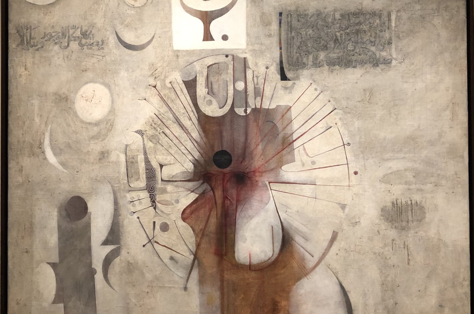 "Ibrahim El-Salahi, ""The Last  Sound,"" 1964, oil on canvas. (Photo by Matt Hanson)"