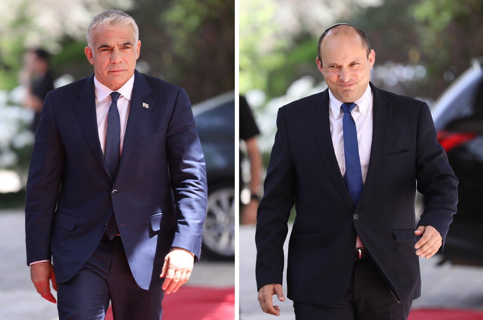 A combination photograph shows the leader of the Yamina party, Naftali Bennett (R) and leader of the Yesh Atid party, Yair Lapid, both entering the residence of President Rivlin, in Jerusalem, Israel, May 5, 2021. (EPA-EFE Photo)