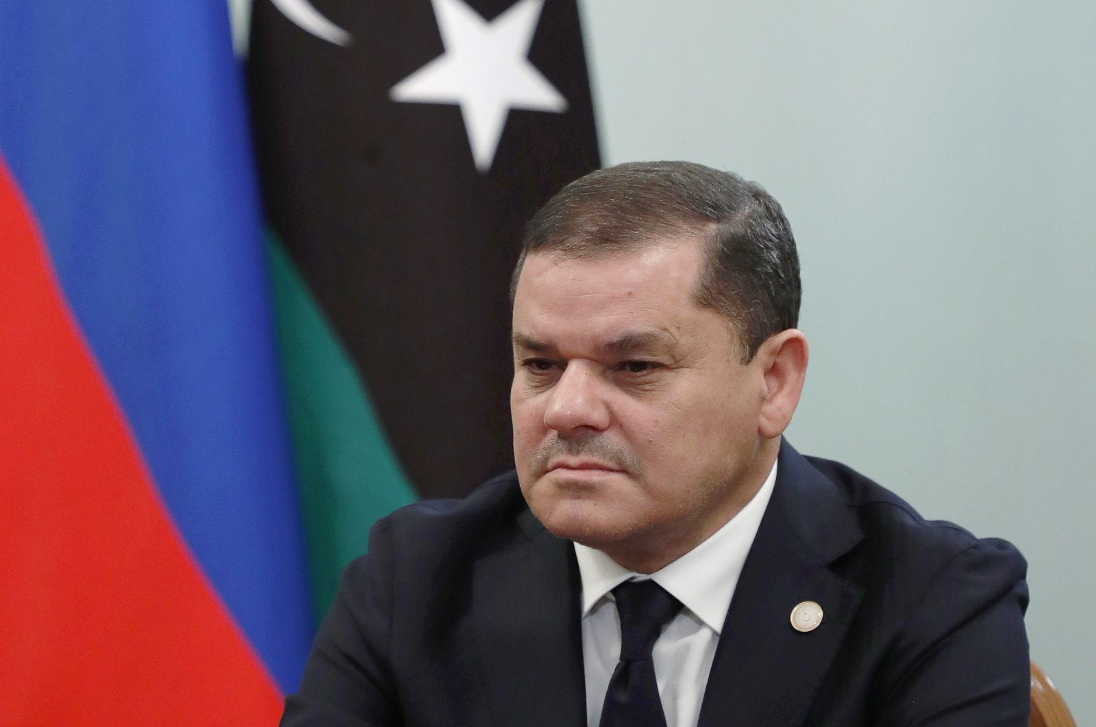 The Prime Minister of the Libyan Government of National Unity, Abdul Hamid Dbeibah during a meeting with Russia's Prime Minister Mikhail Mishustin at the House of the Russian Government, April 15, 2021. (TASS via Getty Images)