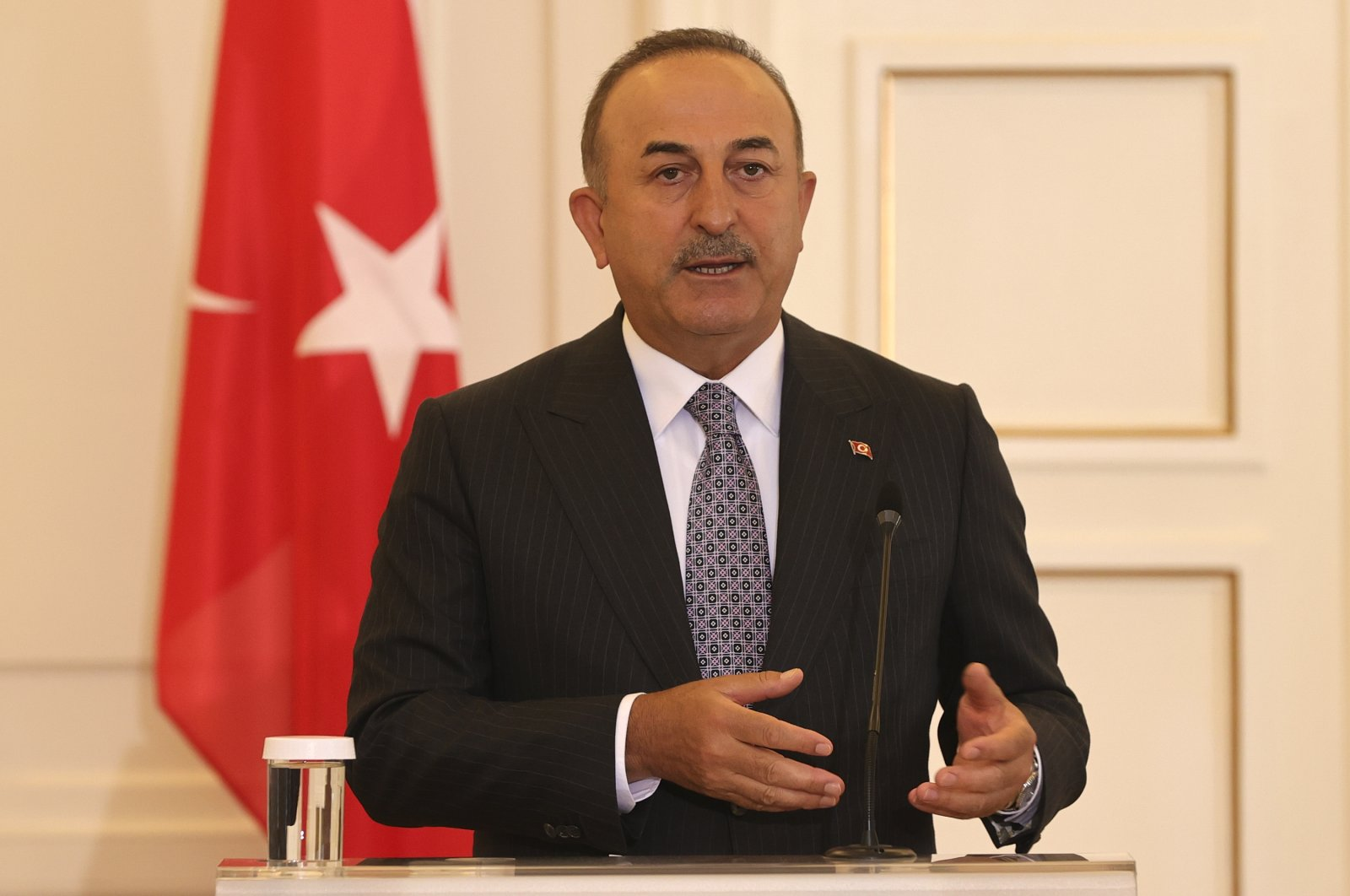Turkish Foreign Minister Mevlüt Çavuşoğlu speaks during a press conference with his Greek counterpart Nikos Dendias at the Ministry of Foreign Affairs in Athens, Greece, May 31, 2021. (AA Photo)