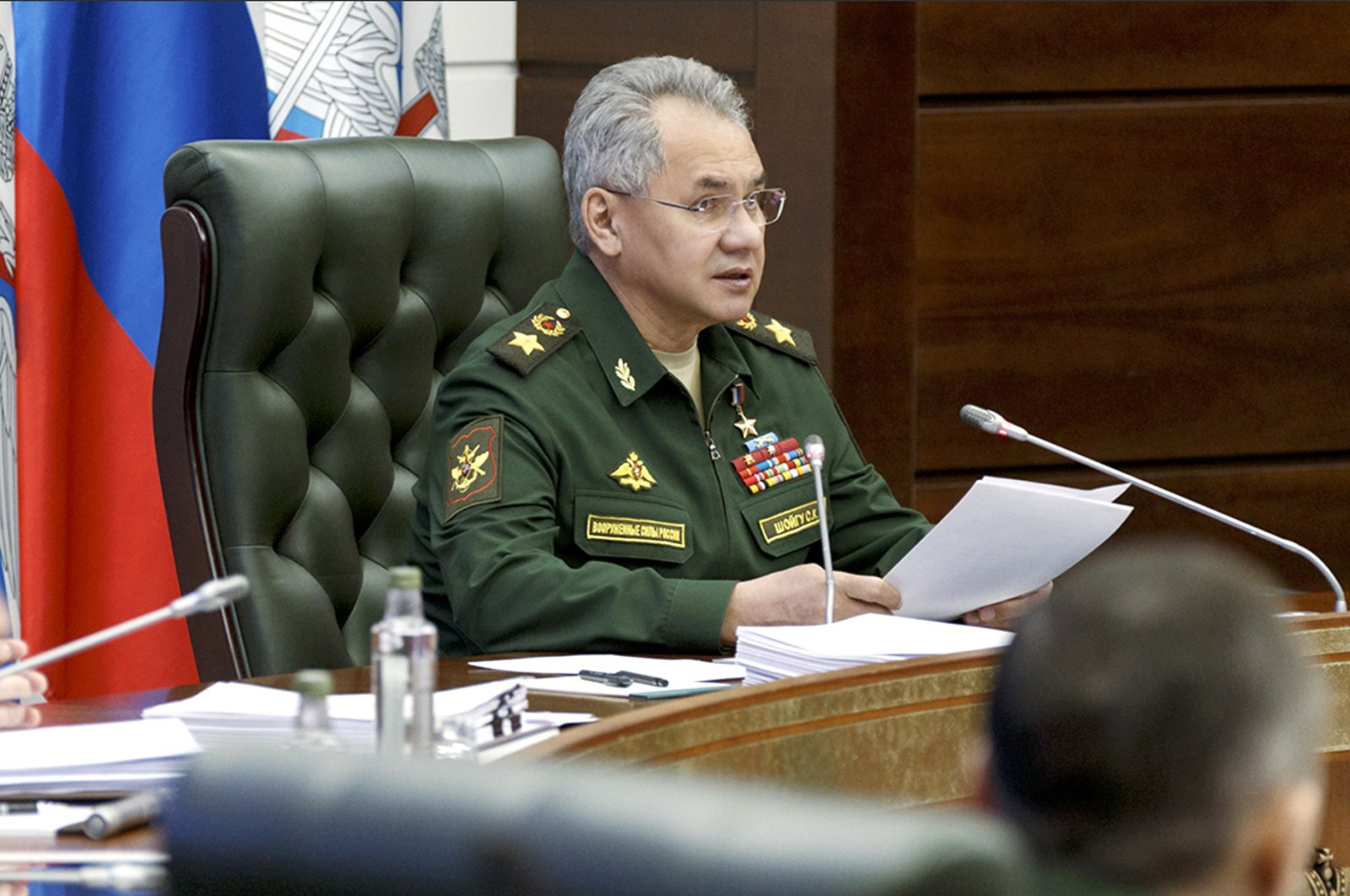 In this handout photo released by the Russian Defense Ministry Press Service, Russian Defense Minister Sergei Shoigu speaks during a meeting with high-level military officials in Moscow, Russia, May 31, 2021. (AP Photo)