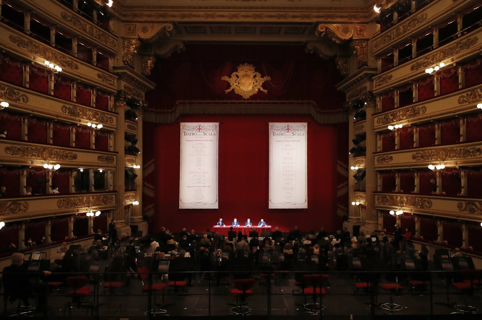A press conference is delivered at the Milan La Scala opera house to present the theater's 2021/2022 season, in Milan, Italy, May 31, 2021. (AP Photo)