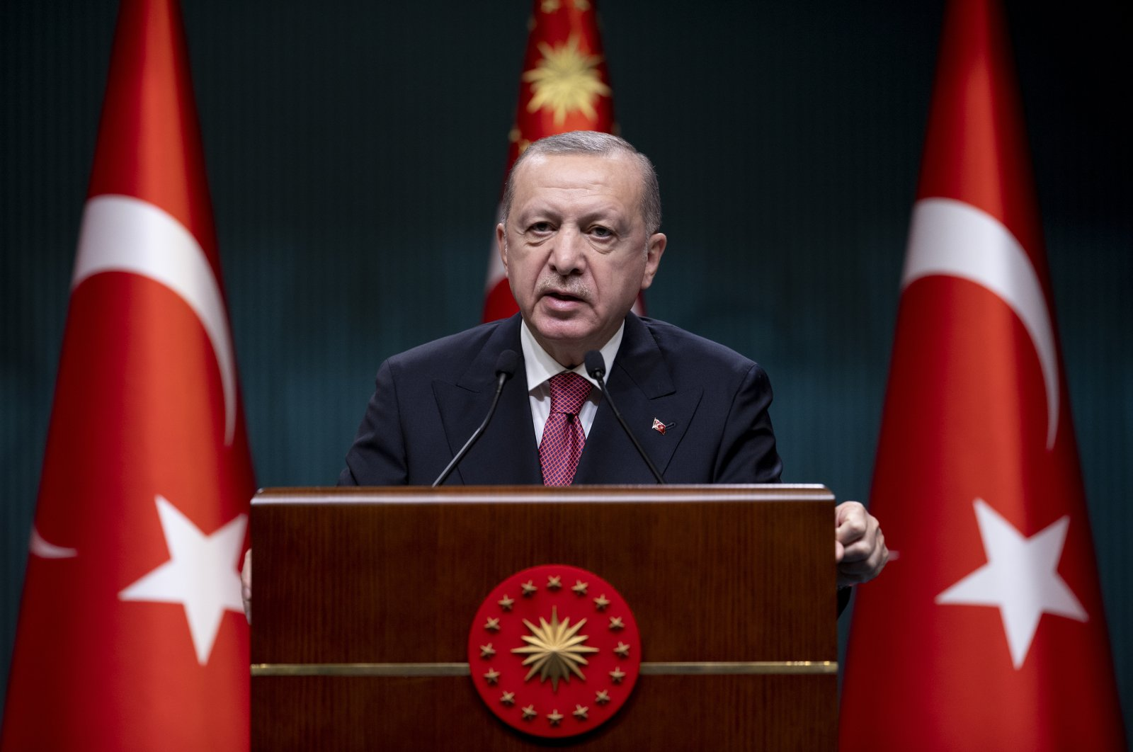 President Recep Tayyip Erdoğan speaks during a press conference at the Presidential Complex in Ankara, Turkey, May 31, 2021 (AA Photo)
