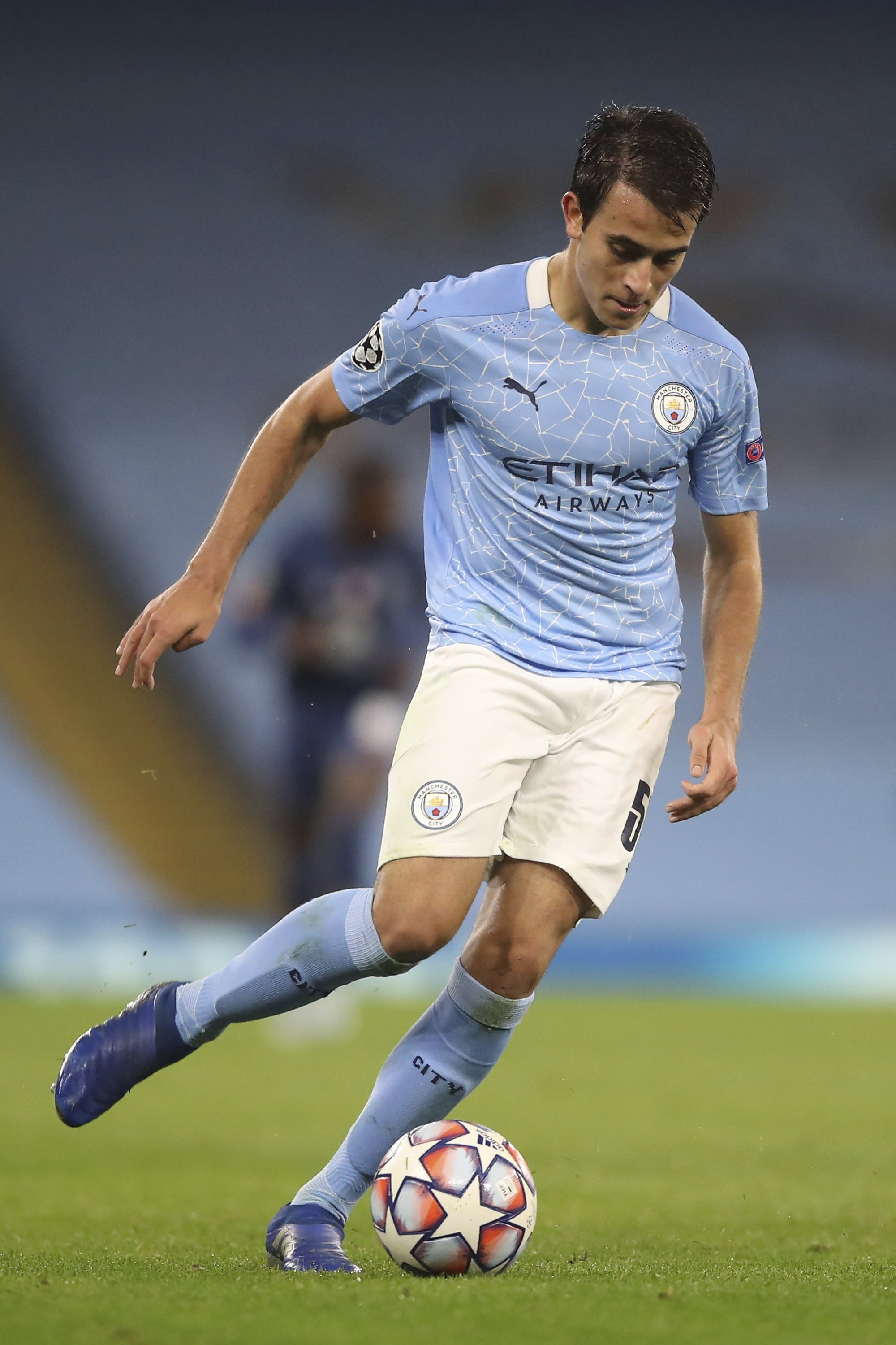 Manchester City's Eric Garcia runs with the ball during a Champions League match against FC Porto at the Etihad Stadium, Manchester, England, Oct. 21, 2020. (AP Photo)