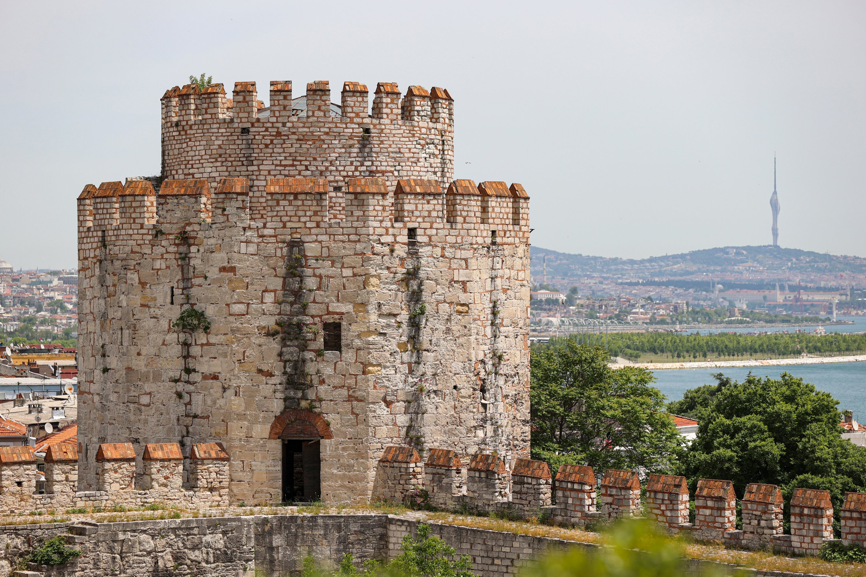 A tower of Yedikule Fortress is seen in this photo, Istanbul, Turkey, May 31, 2021. (AA Photo)