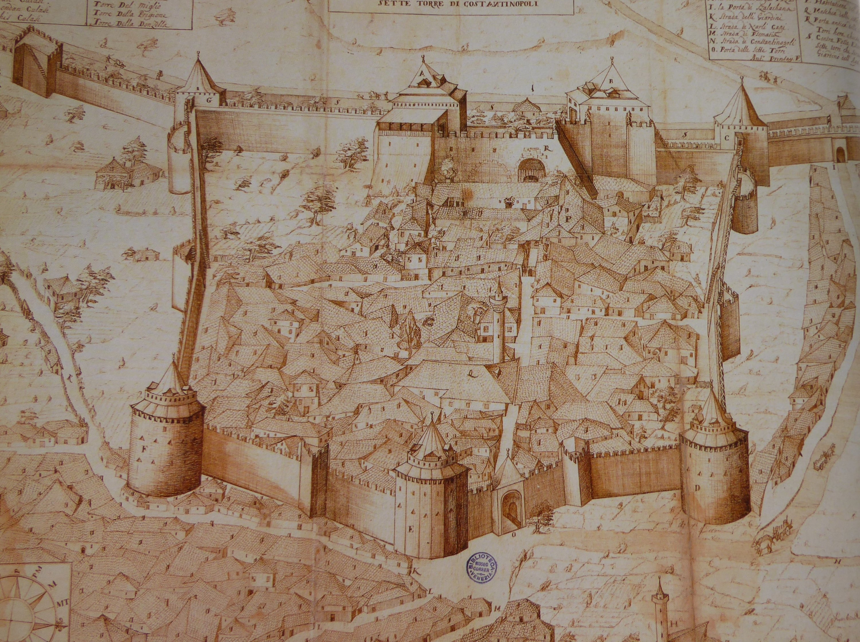 An antique sketch map shows the area of Yedikule Fortress. (AA Photo)