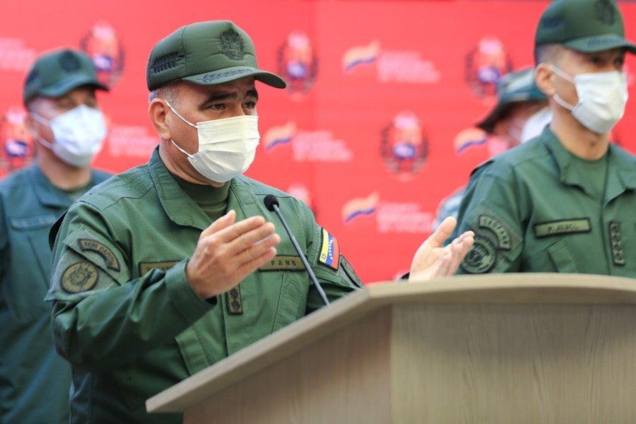 Venezuelan Defense Minister Vladimir Padrino Lopez speaks in Caracas, Venezuela, May 15, 2021. (EPA Photo)