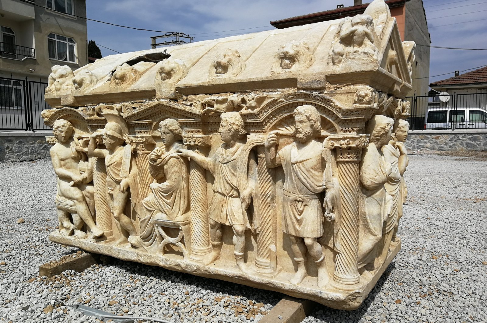 A sarcophagus with large engravings of men, women and animals rests in the sun at the Iznik Museum, Bursa, Turkey, June 1, 2021. (IHA Photo)