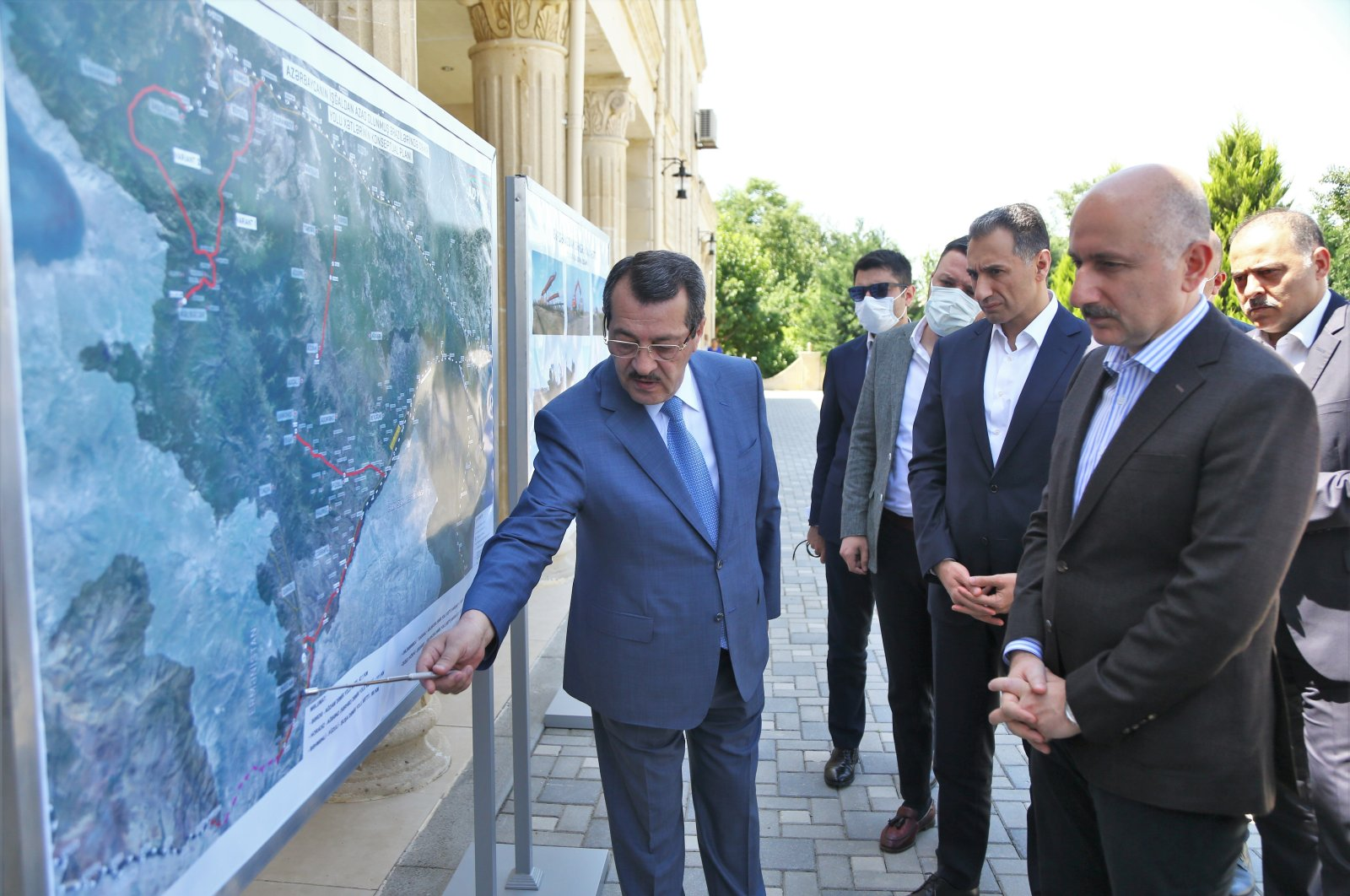 Transport and Infrastructure Minister Adil Karaismailoğlu together with his Azerbaijani counterpart Rashad Nabiyev in Baku, Azerbaijan, May 31, 2021. (AA Photo)