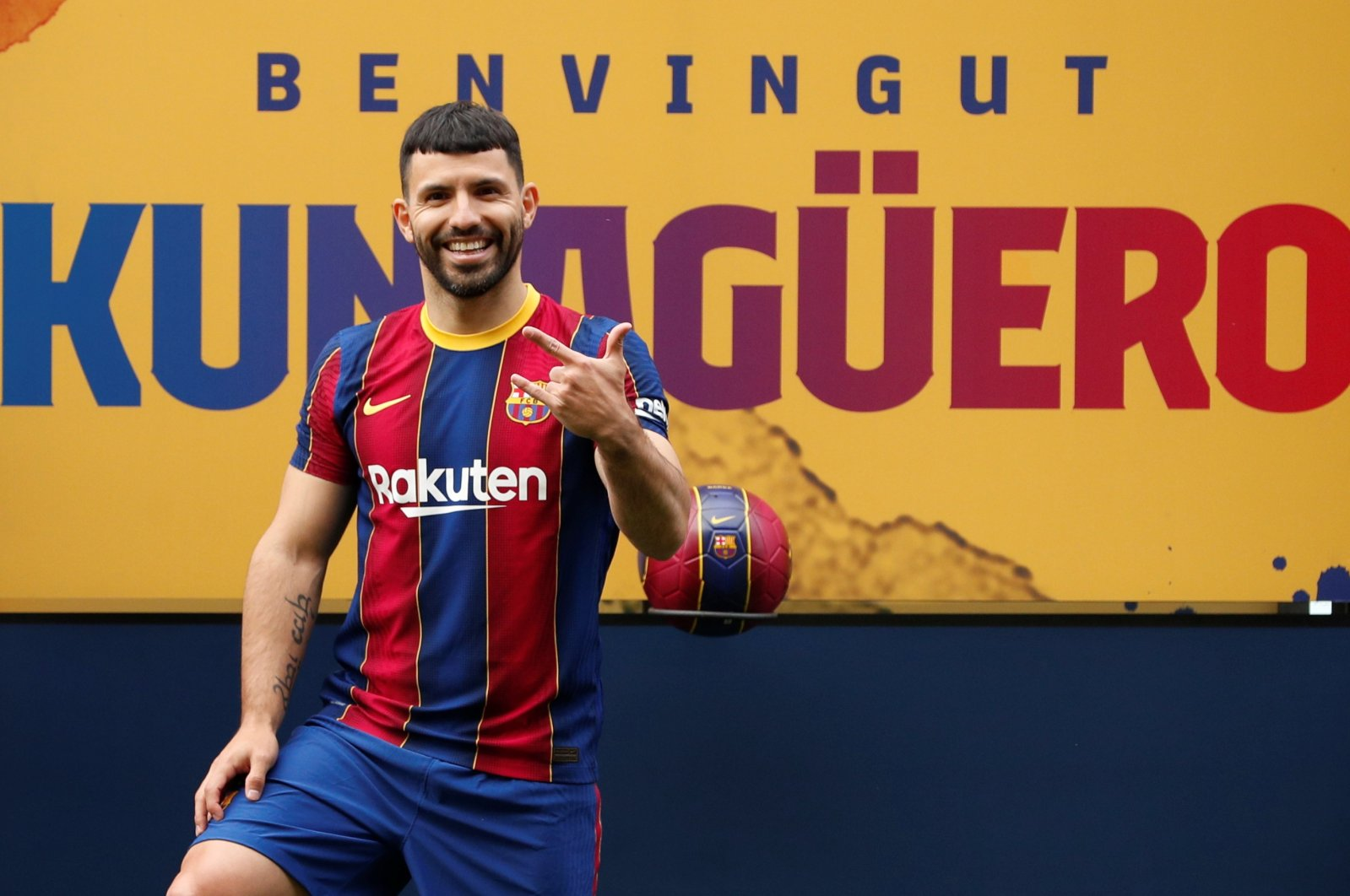 Barcelona presents its new signing Sergio Aguero, Camp Nou, Barcelona, Spain, May 31, 2021. (Reuters Photo)