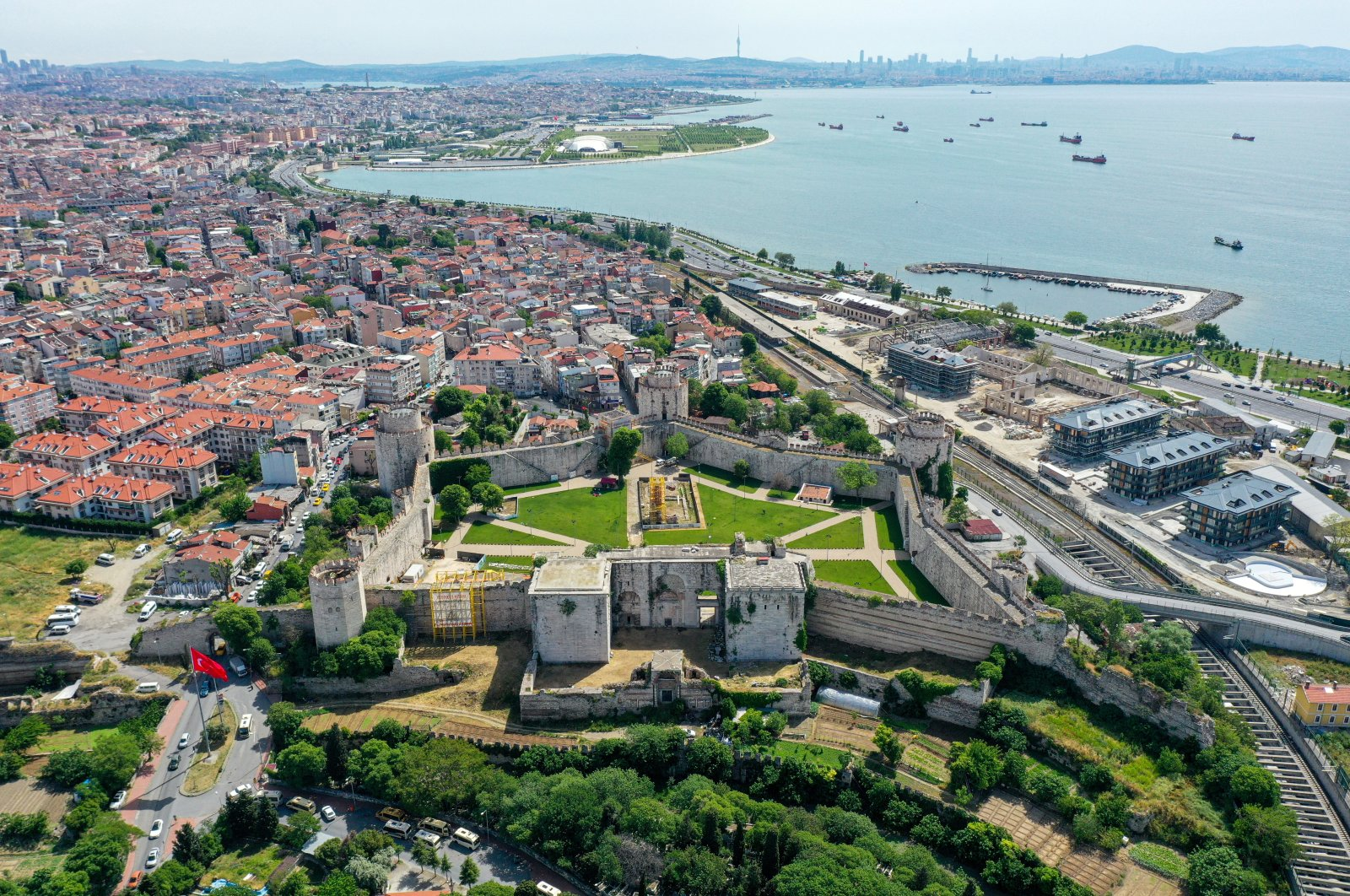 An aerial view of Yedikule Fortress in Istanbul, Turkey, May 31, 2021. (AA Photo)