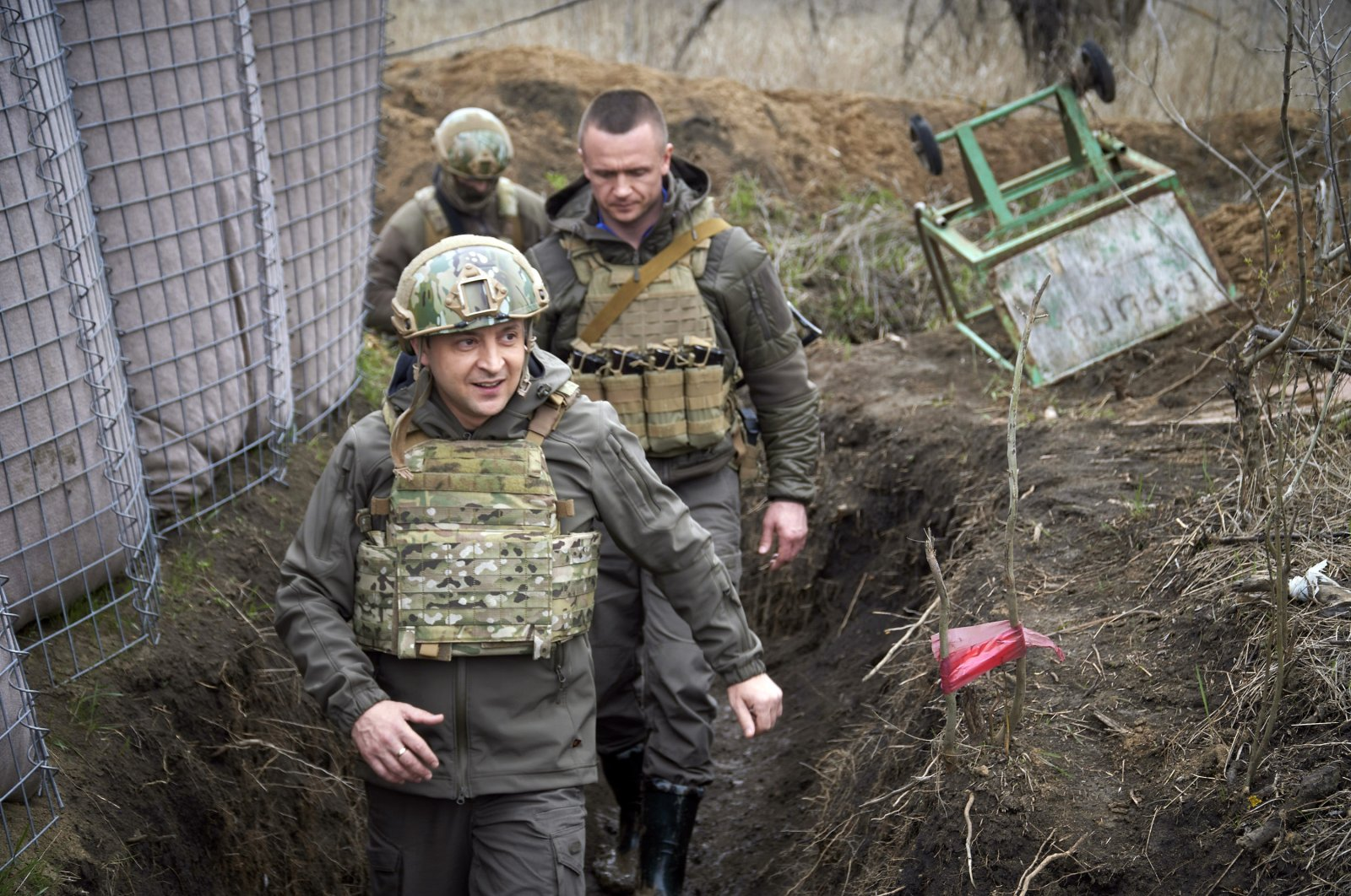 Ukrainian President Volodymyr Zelenskyy visits the war-hit Donbass region, eastern Ukraine, April 9, 2021. (Ukrainian Presidential Press Office via AP)