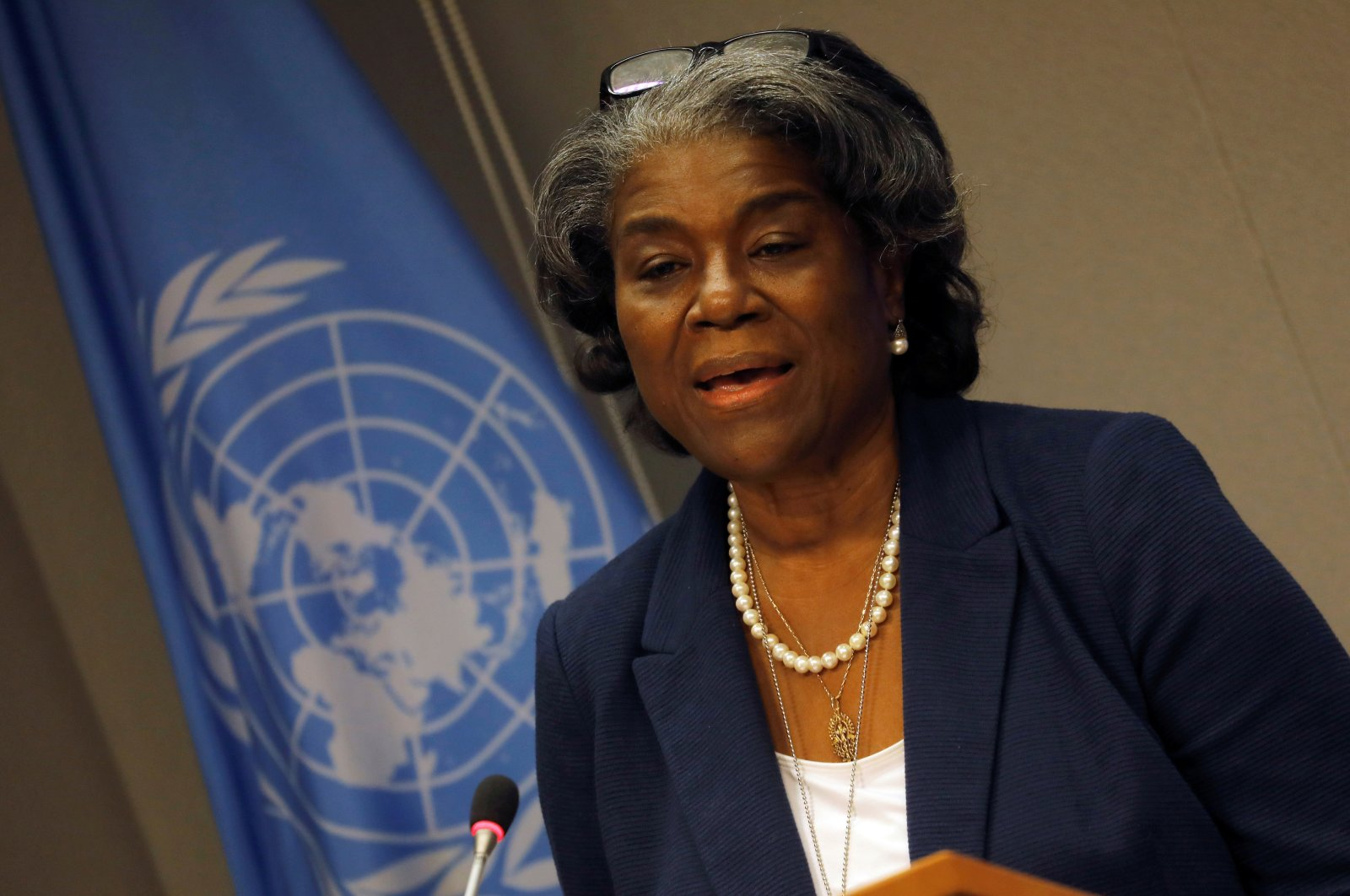 New U.S. Ambassador to the United Nations Linda Thomas-Greenfield holds a news conference to mark the start of the U.S. presidency of the U.N. Security Council for March, at the U.N. headquarters in New York, U.S., March 1, 2021. (Reuters Photo)