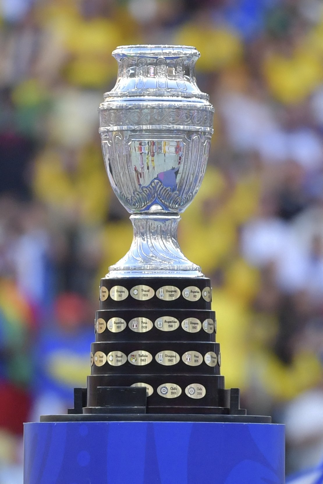 The Copa America trophy during the closing ceremony of the football tournament before the final match between Brazil and Peru at Maracana Stadium in Rio de Janeiro, Brazil, July 07, 2019.