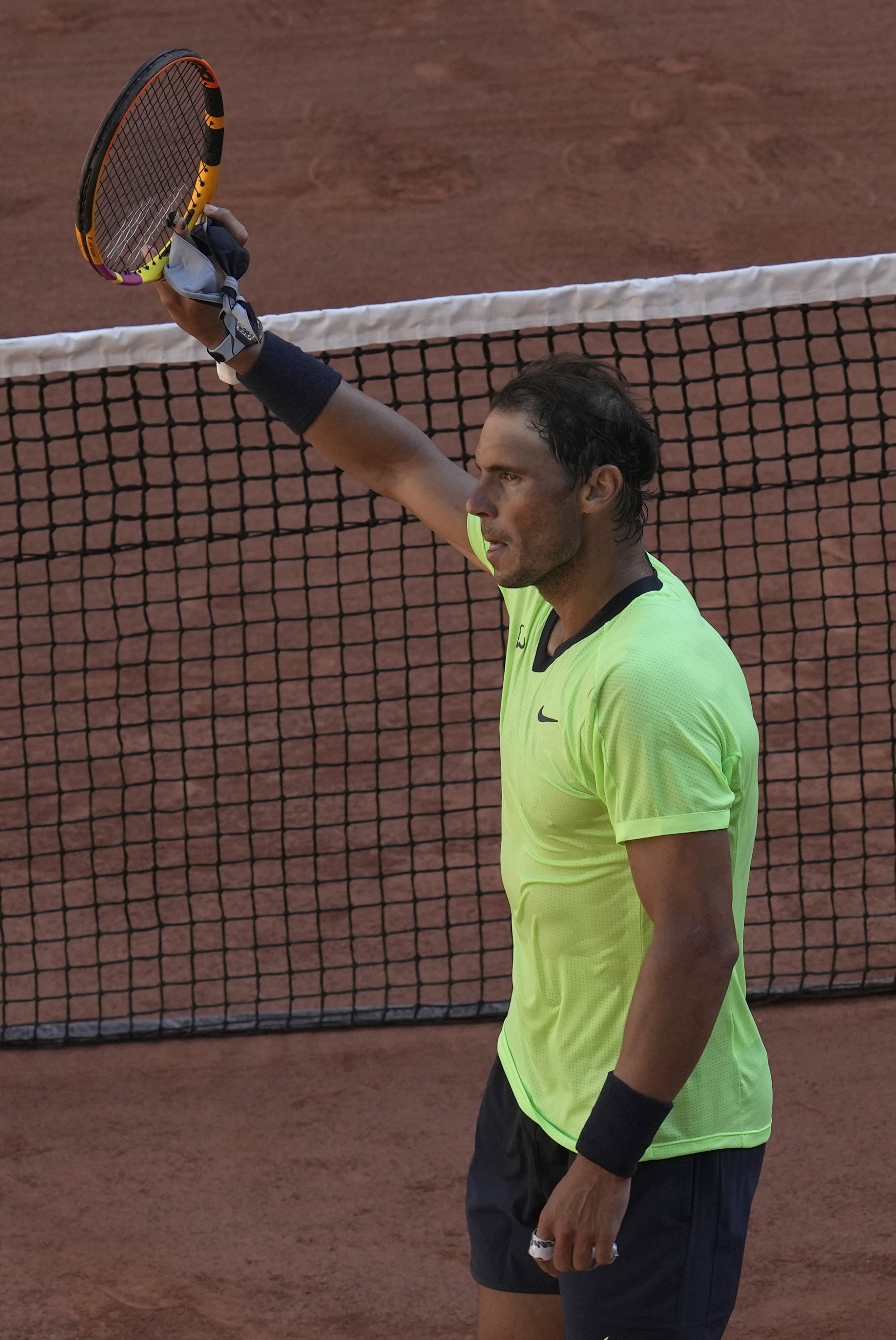 Spain's Rafael Nadal celebrates after defeating Australia's Alexei Popyrin in their French Open first round at Roland Garros in Paris, France, June 1, 2021. (AP Photo)