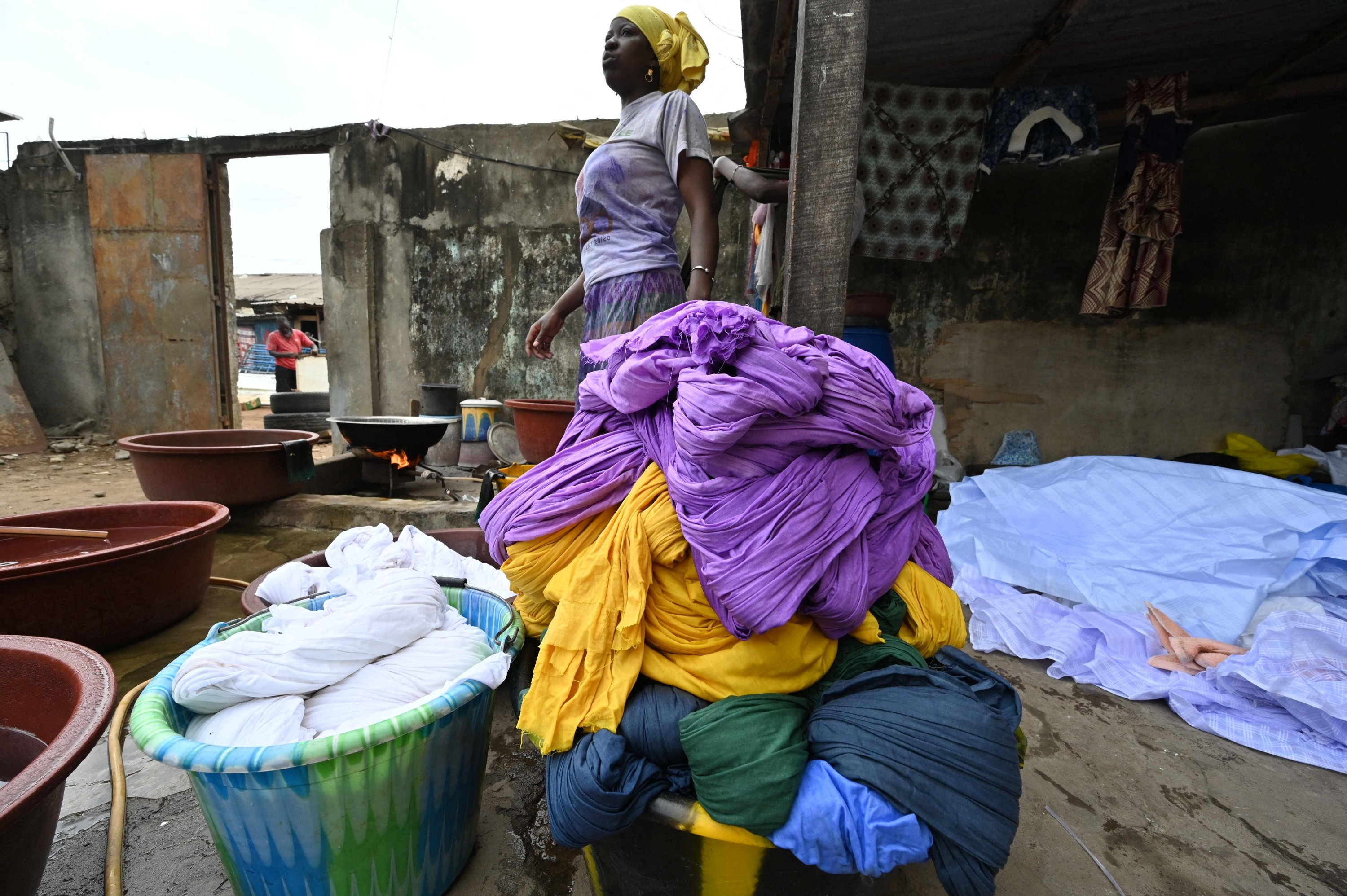 Dyed cotton fabric is seen at Pathe'O house in the popular district of Treichville in Abidjan, Ivory Coast, March 31, 2021. (AFP Photo)