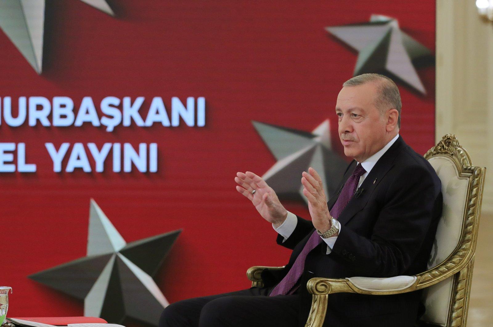 Turkish President Recep Tayyip Erdoğan reacts during an interview on TRT Haber at Çankaya Mansion, Ankara, Turkey, June 1, 2021. (AA Photo)