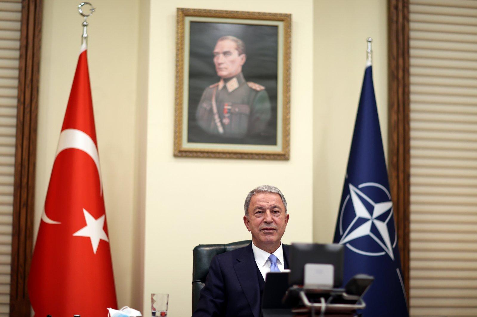 Defense Minister Hulusi Akar attends a virtual NATO meeting, June 1, 2021. (AA Photo)