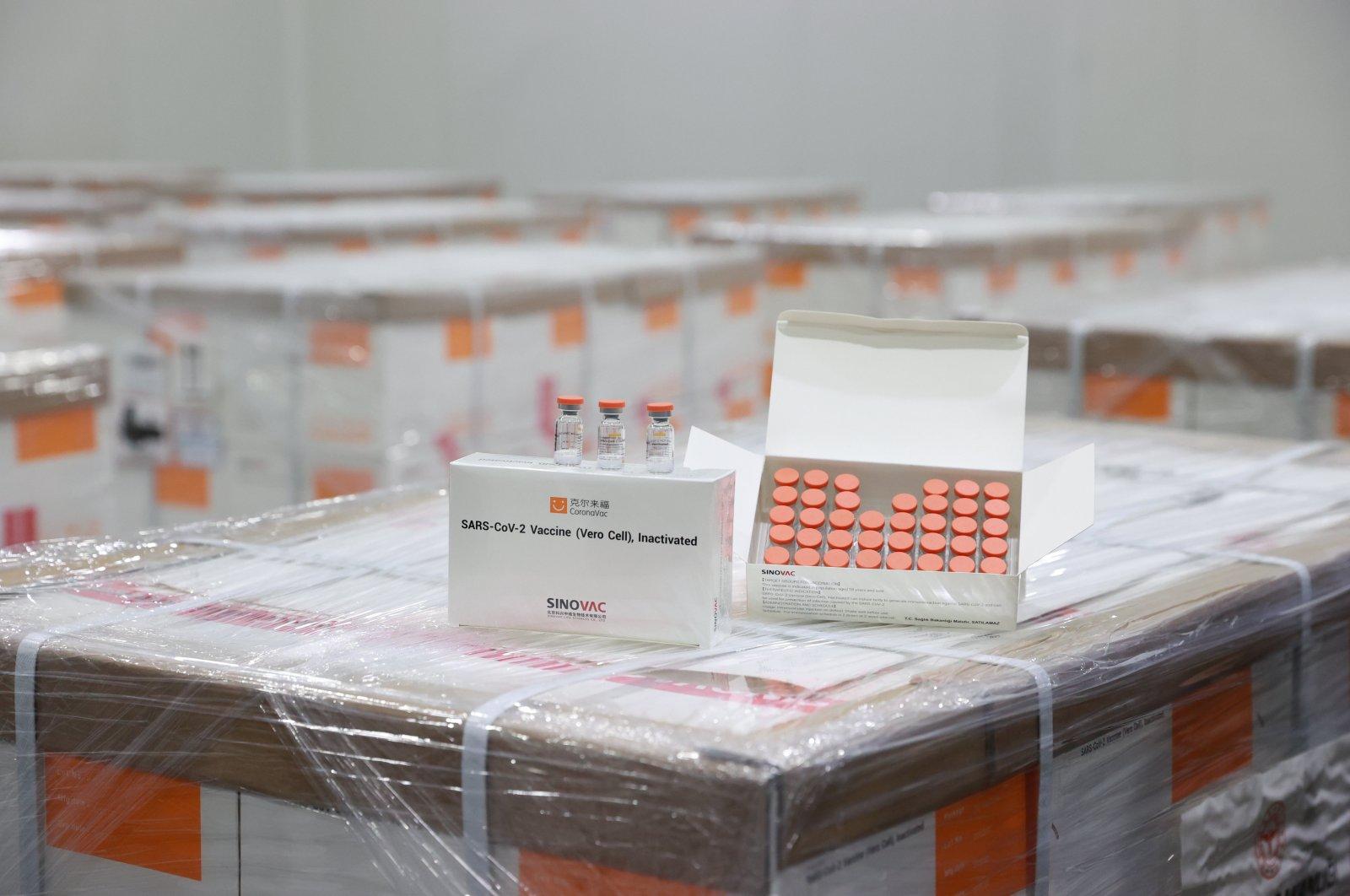 Boxes of CoronaVac by Sinovac, at a Health Ministry warehouse in the capital, Ankara, Turkey, Dec. 31, 2020. (AA PHOTO)
