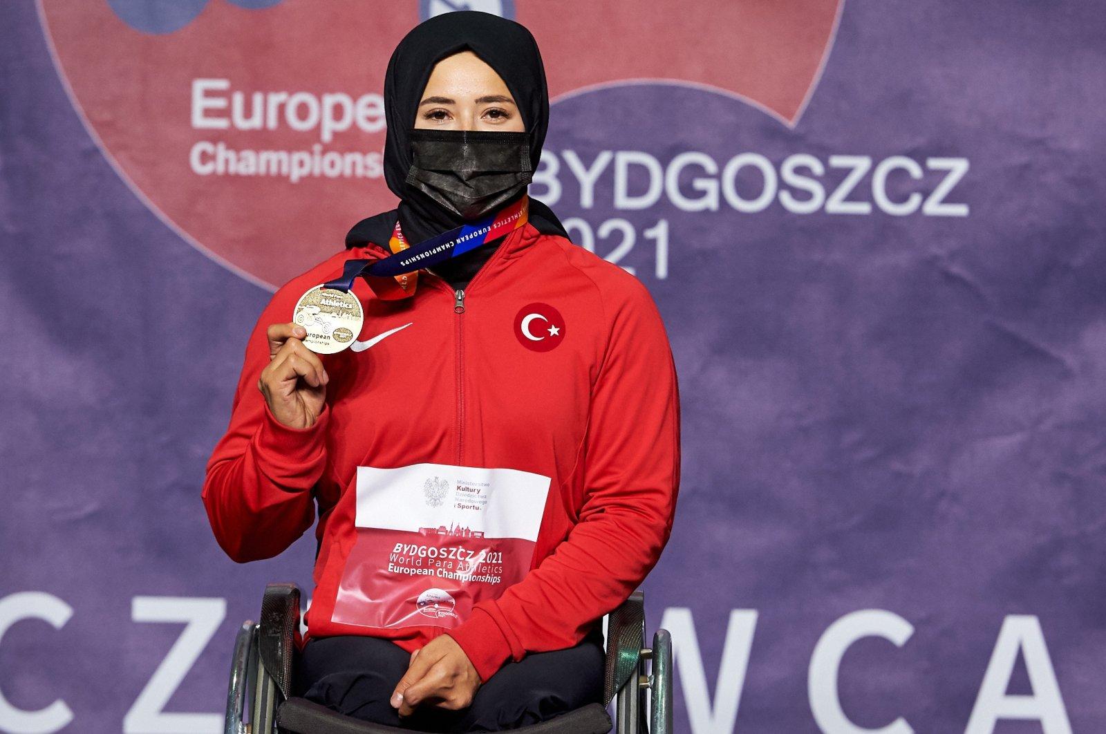 Turkish para-athlete Zübeyde Süpürgeci after winning gold at the Para Athletics European Championship, Bydgoszcz, Poland, June 1, 2021.
