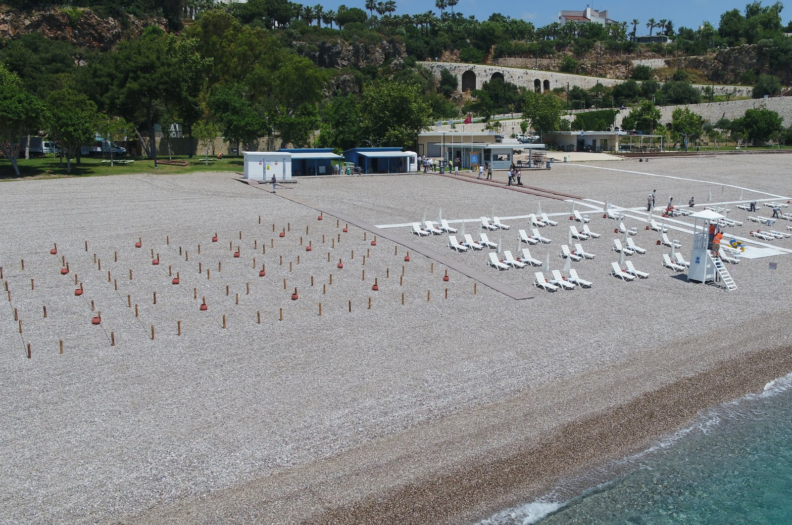 Empty coastal social facility belonging to the municipality seen as it was closed during a partial lockdown in Antalya, southern Turkey, June 2, 2021. (IHA Photo)