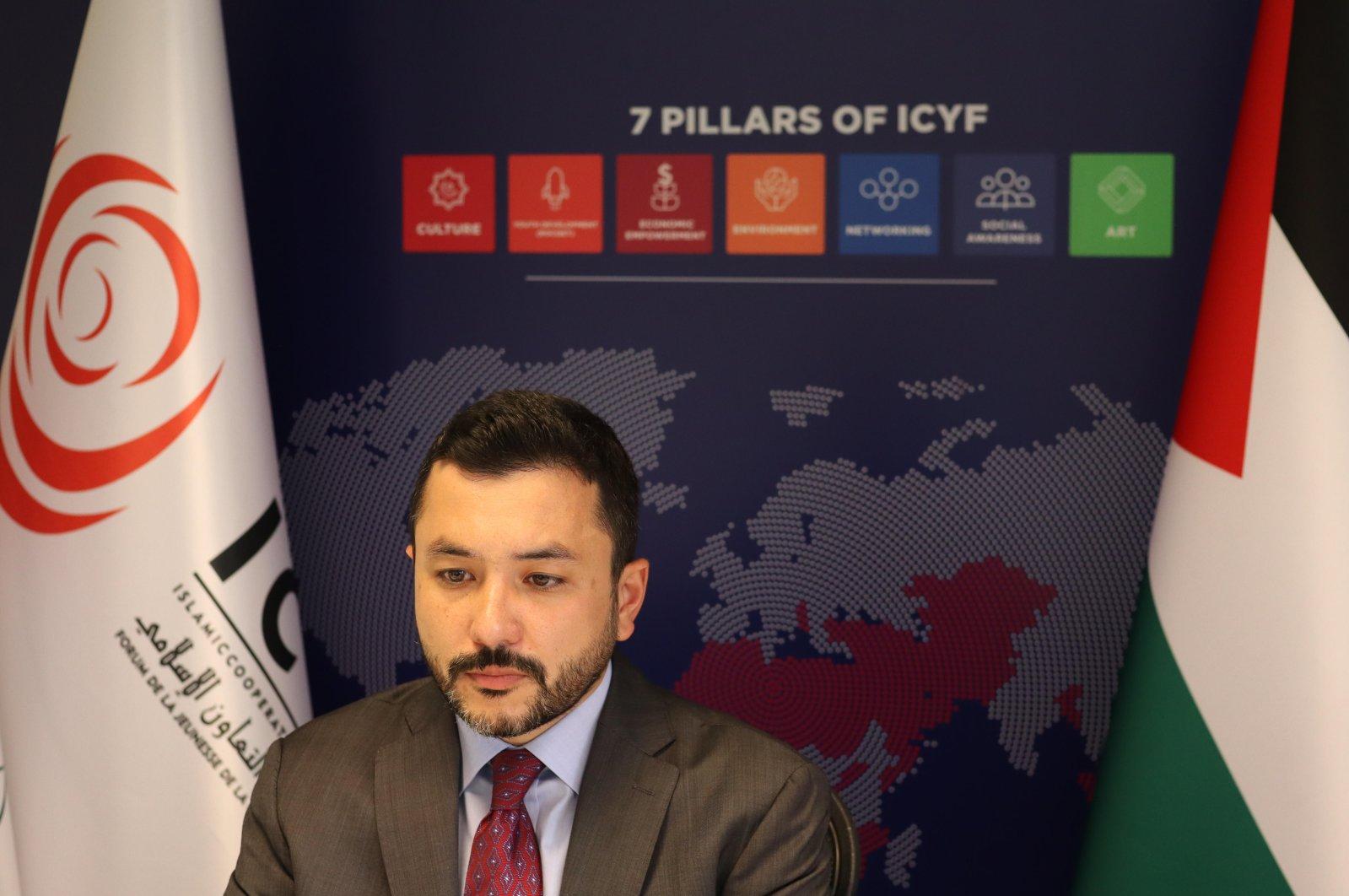Islamic Cooperation Youth Forum President Taha Ayhan speaks during the webinar, June 2, 2021.