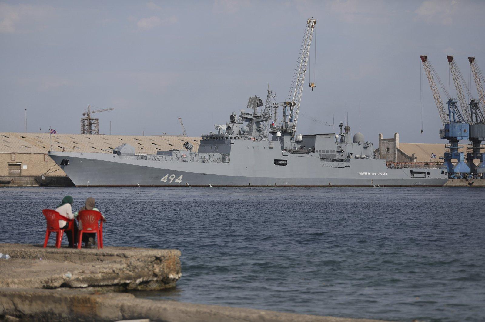 A Russian warship is docked in the Port Sudan, in Port Sudan, Sudan, Feb. 28, 2021. (AP Photo)