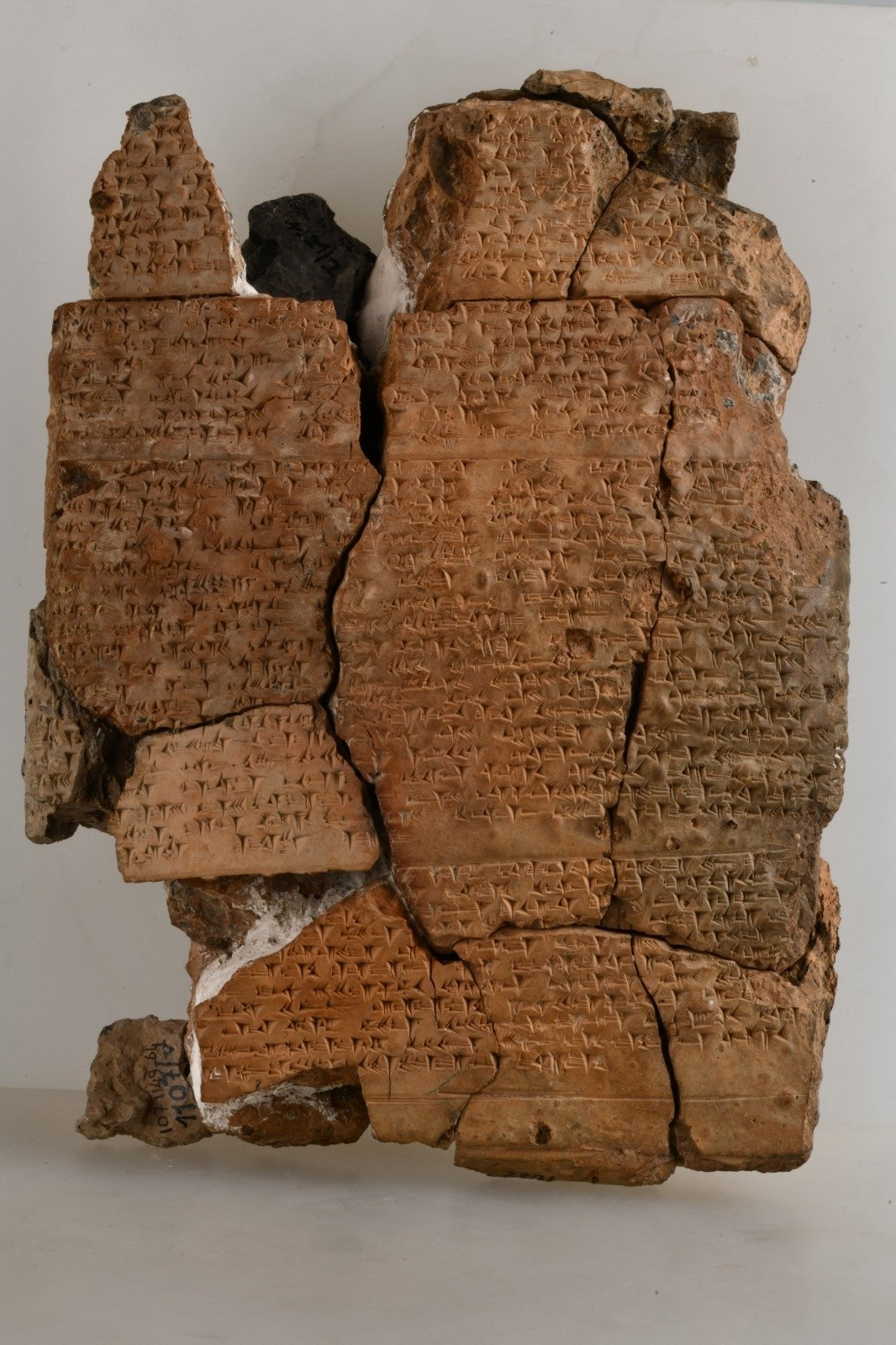 """A clay tablet from the """"Konuşan Tabletler"""" (""""Speaking Tablets"""") exhibition at the Museum of Anatolian Civilizations, Ankara, Turkey, June 2, 2021. (AA Photo)"""