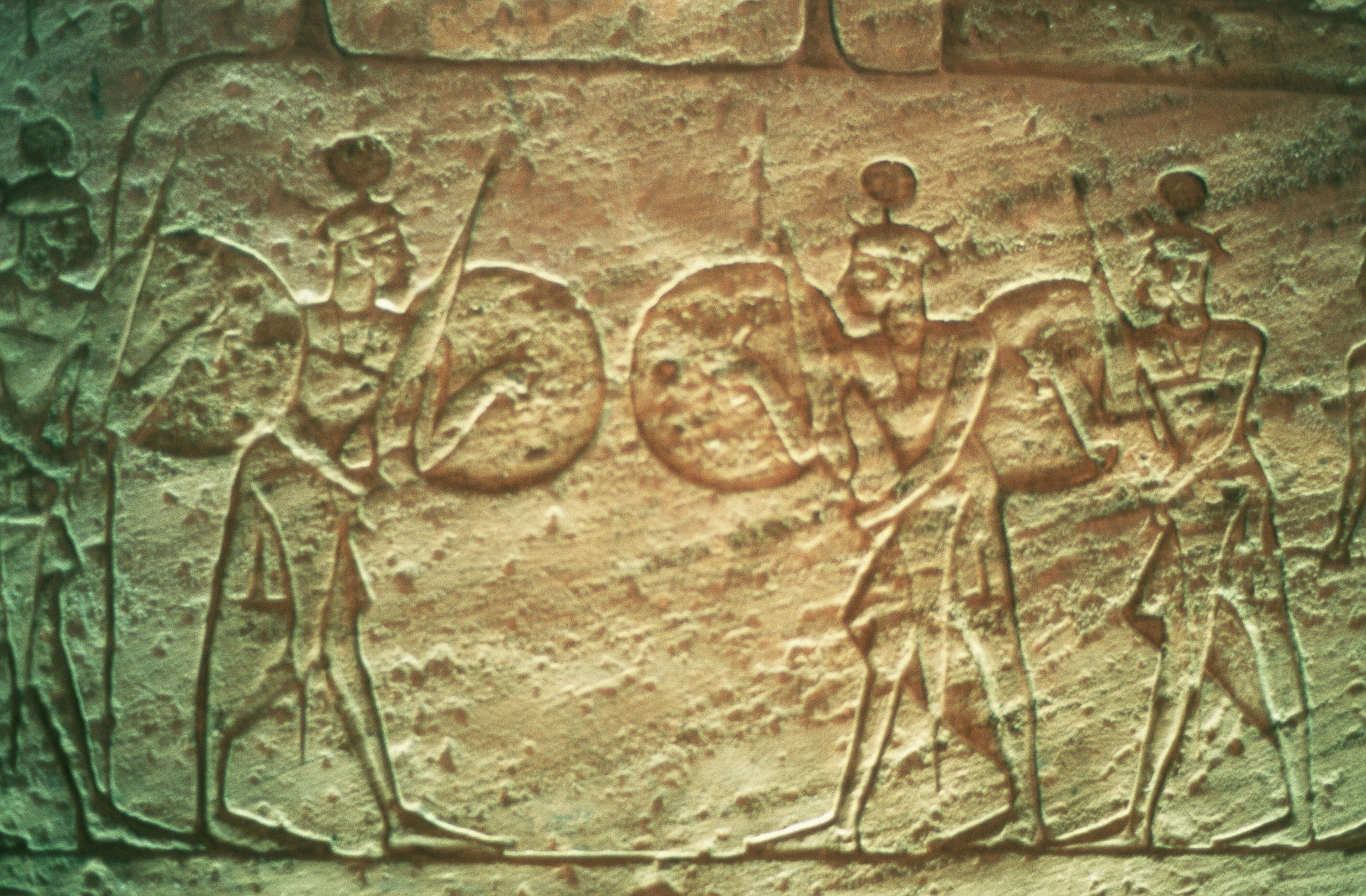 The Hittite soldiers seen on this limestone relief from the Temple of Abu Simbel spread the epidemic to their families after they returned from their expeditions. (Getty Images)