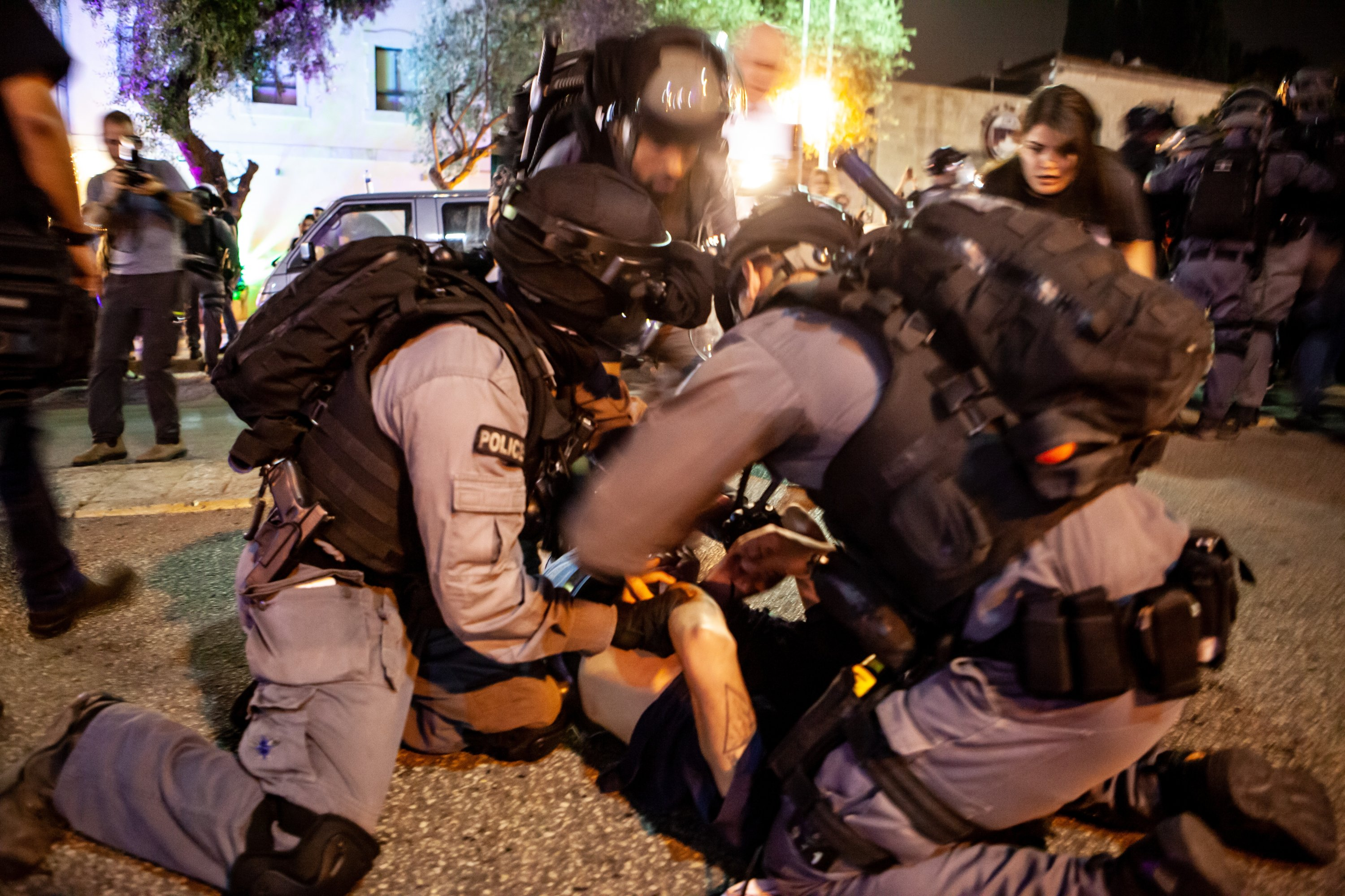 Palestinian citizens of Israel were met with a strong Israeli police response during a protest against Israeli actions in Jerusalem's Sheikh Jarrah neighborhood, occupied Palestine, May 9, 2021. (Photo by Getty Images)