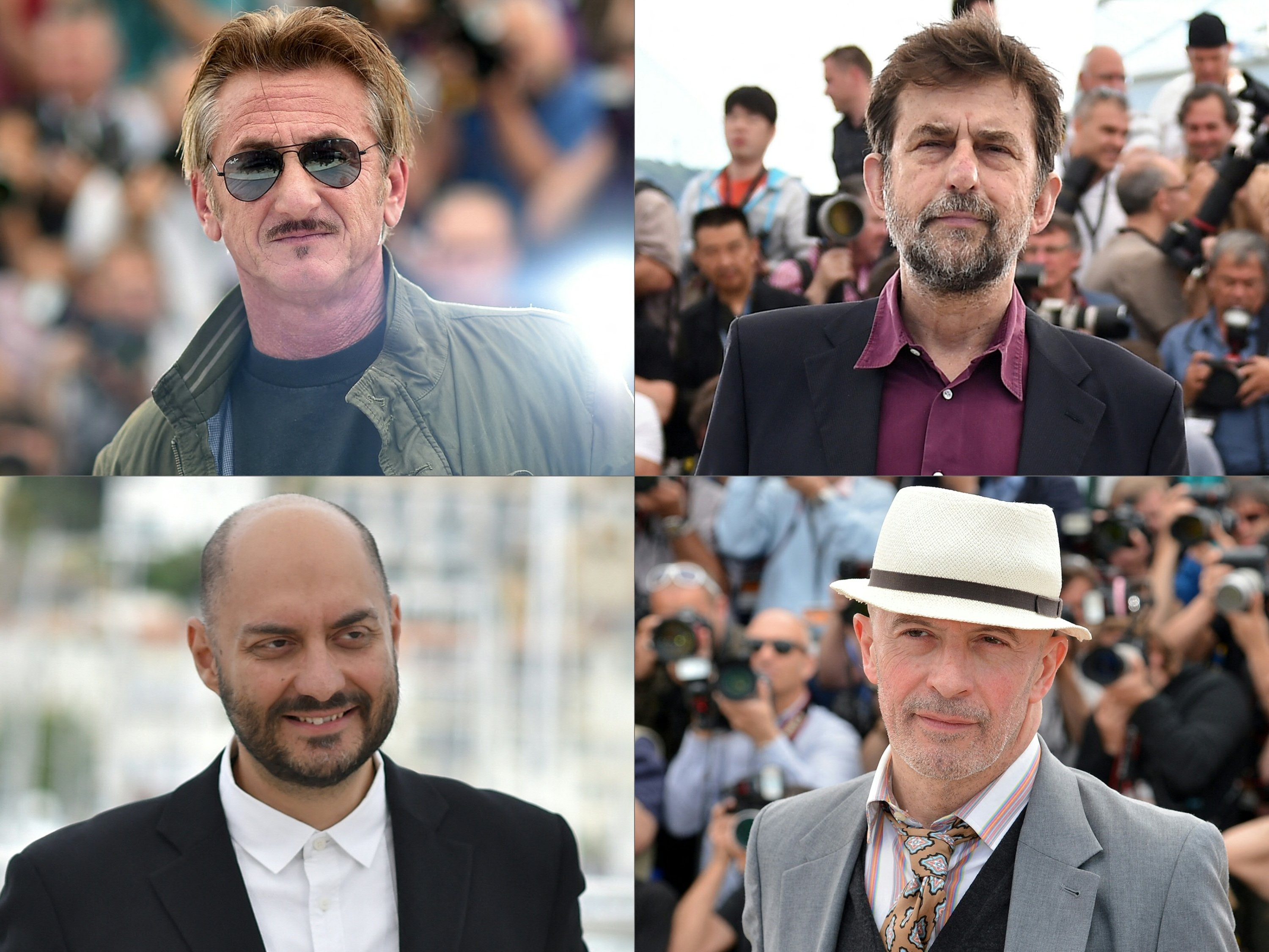 A collage of pictures shows American actor and director Sean Penn (L-T), Italy's Nanni Moretti (R-T), Russia's Kirill Serebrennikov (L-B) and France'sJacques Audiard (R-B), all competingat the Cannes Film Festival in July. (AFP Photo)