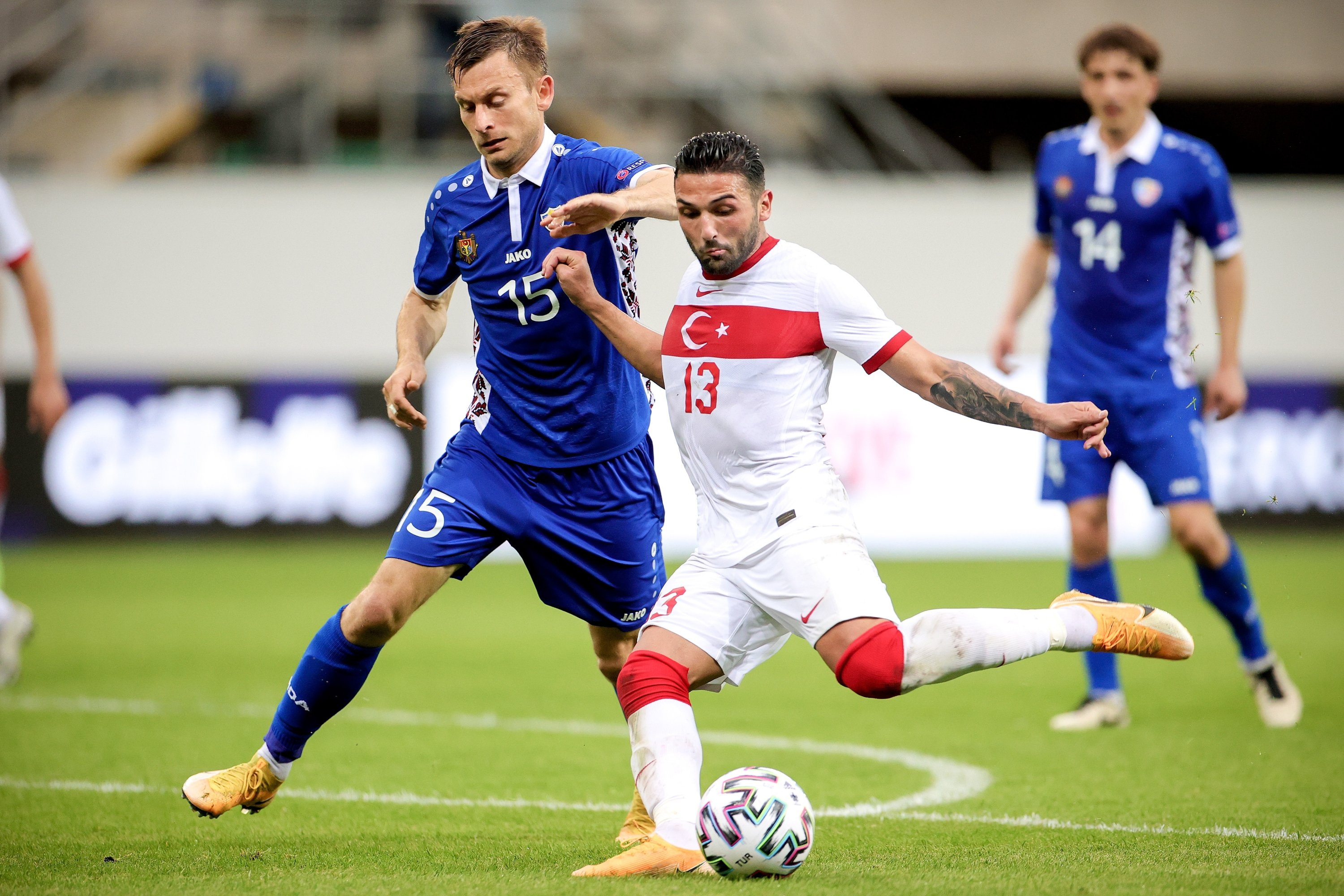 Turkey's Umut Meraş (R) in action against Moldova's Ion Jardan (L) during the International Friendly soccer match between Turkey and Moldova in Paderborn, Germany, June 3, 2021. (EPA Photo)