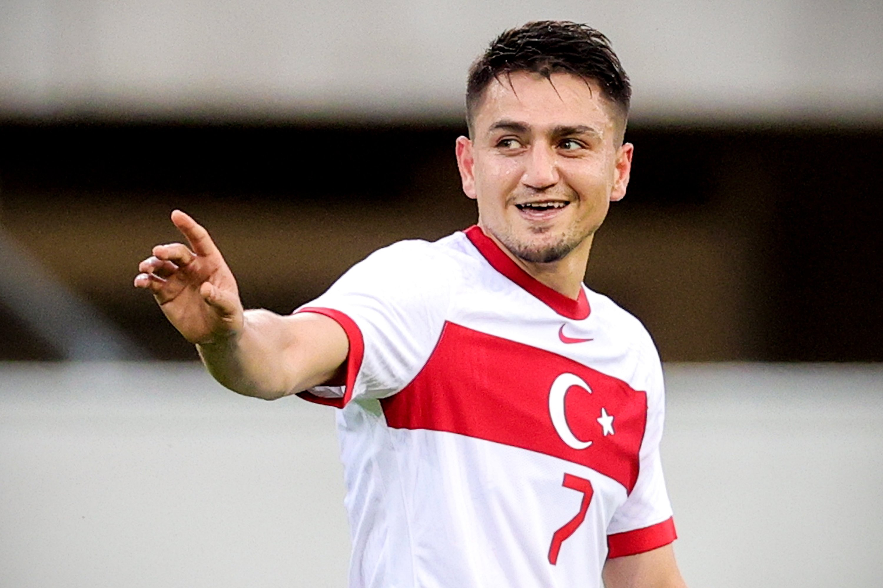 Turkey's Cengiz Ünder celebrates after securing the 2-0 lead during the International Friendly soccer match between Turkey and Moldova in Paderborn, Germany, June 3, 2021. (EPA Photo)