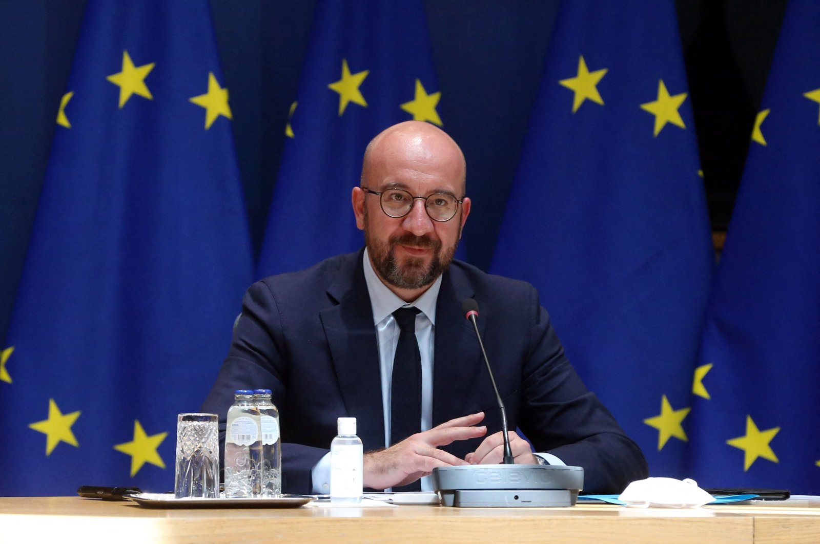 President of the European Council Charles Michel attends a videoconference in Brussels, Belgium, June 1, 2021. (AFP Photo)