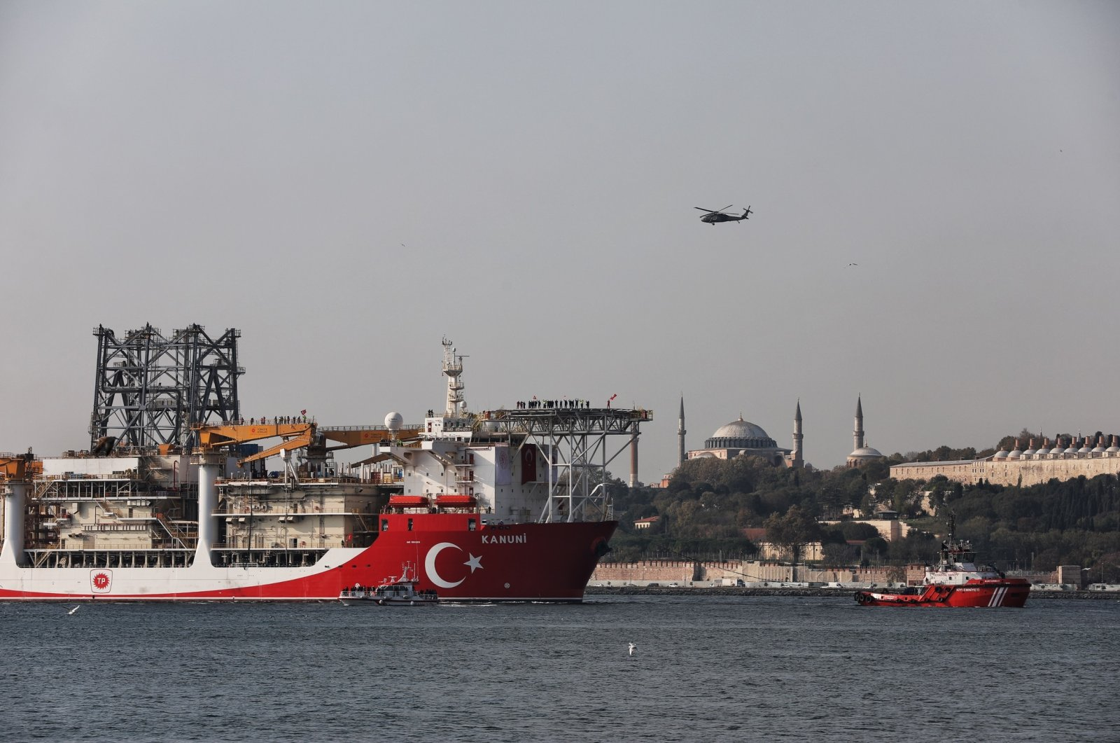 Turkey's third drillship Kanuni seen with the Topkapı Palace in the background, Istanbul, Turkey, Nov. 13, 2020. (Photo by Getty Images)