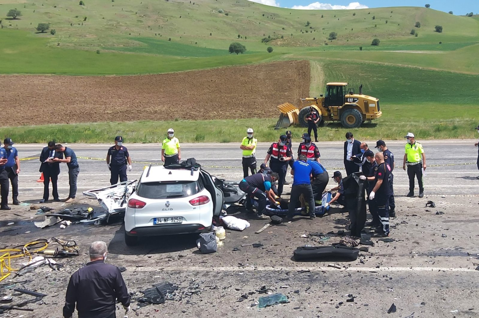 A view of the scene of the crash, in Sivas, central Turkey, June 3, 2021. (AA PHOTO)