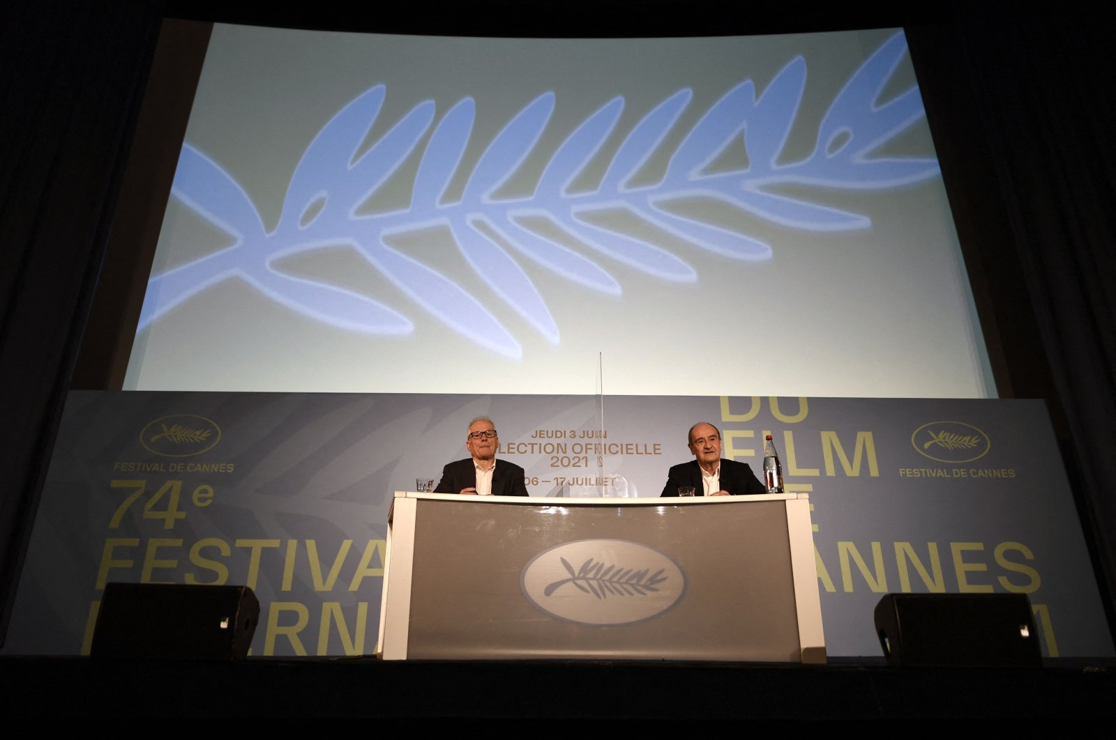 Cannes film festival general delegate Thierry Fremaux (L) and French director of the Cannes film festival Pierre Lescure attend a press conference to announce the official selection of the 74th Cannes Film Festival, Paris, France, June 3, 2021. (AFP Photo)