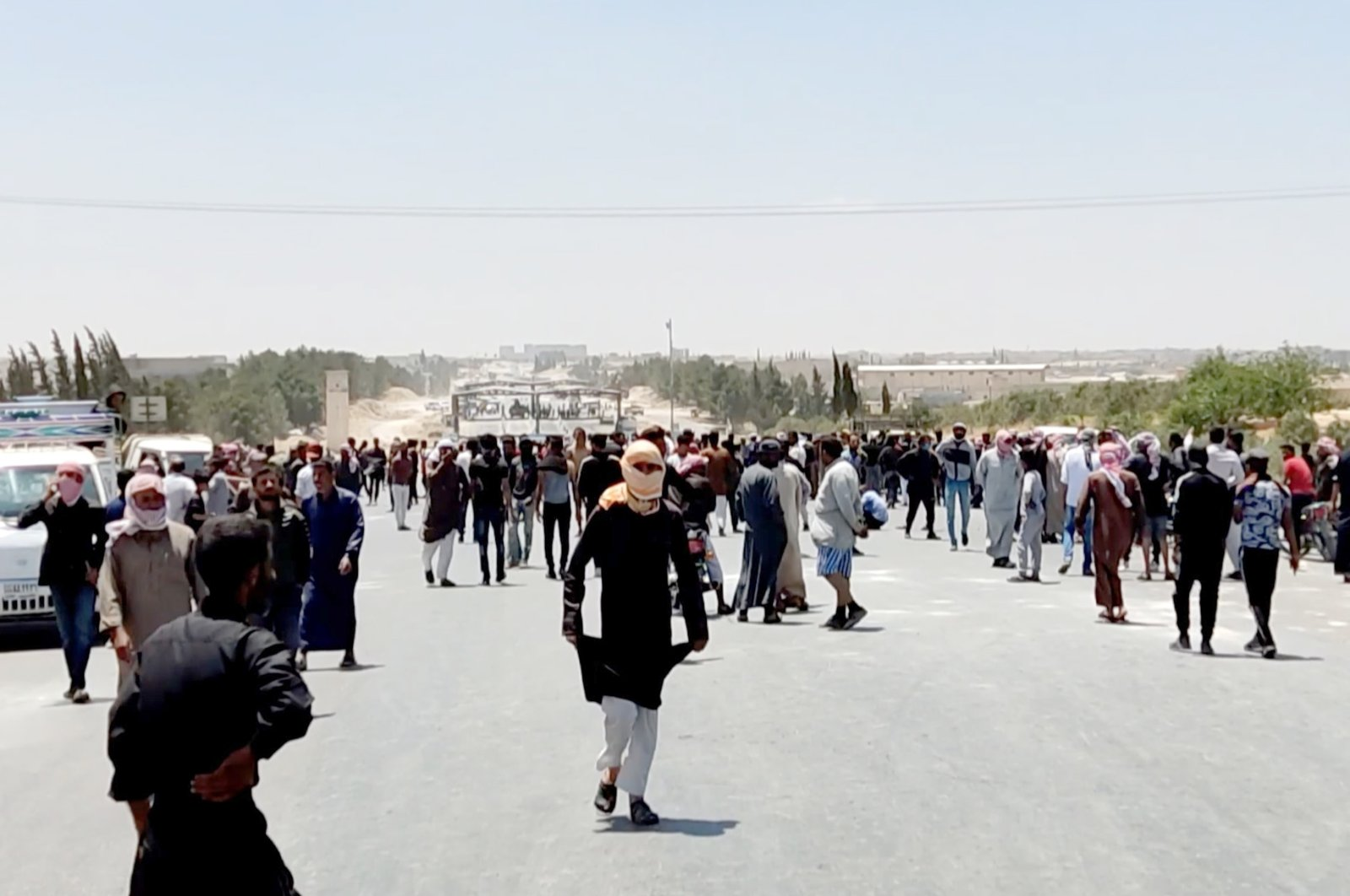 Protesters demonstrate against the PKK/YPG in Manbij, Syria, June 1, 2021. (AA Photo)