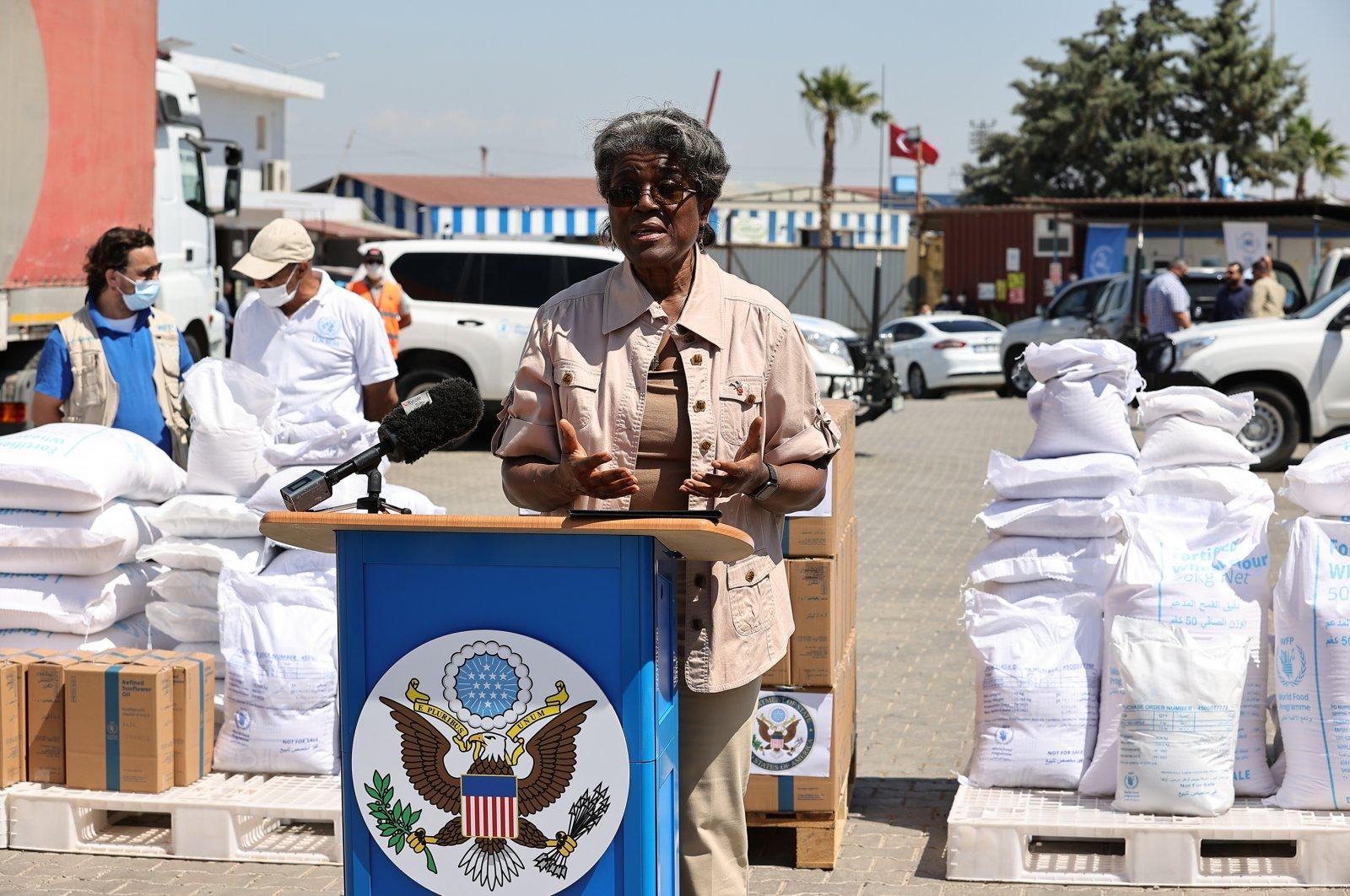 U.S. Ambassador to the U.N., Linda Thomas-Greenfield, visited the World Food Programme's distribution center in southern Hatay's Reyhanlı district, Turkey, June 3, 2021 (AA Photo)