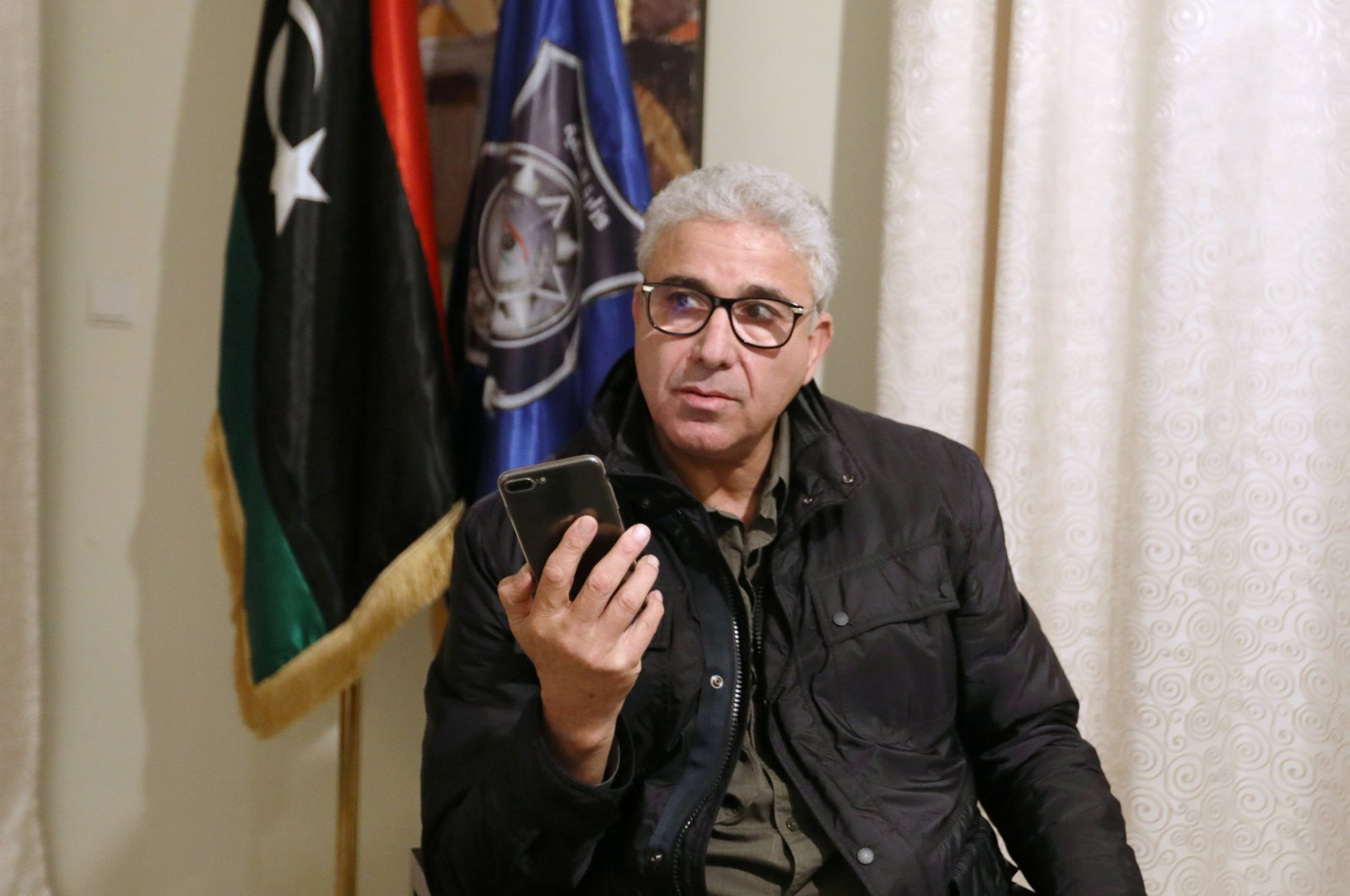 Fathi Bashagha, former Interior Minister of the Tripoli-based U.N.-backed Government of National Accord (GNA), speaks to Reuters in Tripoli, Libya, February 21, 2021. REUTERS/Hazem Ahmed