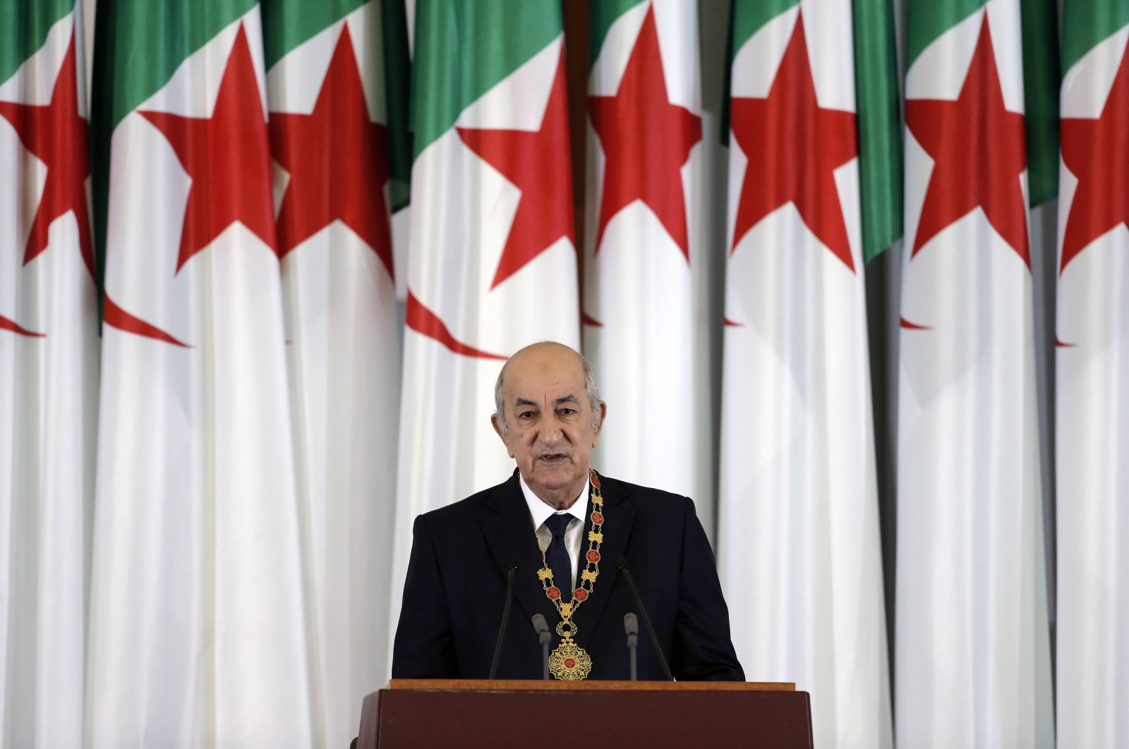 Algerian President Abdelmadjid Tebboune delivers a speech during an inauguration ceremony in the presidential palace, Algiers, Algeria, Thursday, Dec. 19, 2019. (AP File Photo)