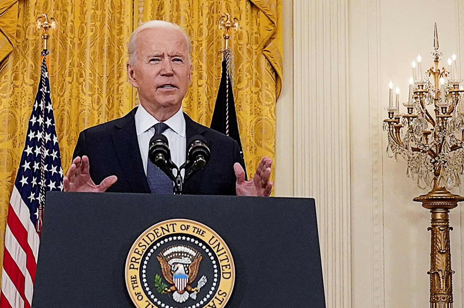 President Joe Biden delivers remarks on the United States economy in the East Room at the White House in Washington, D.C., the U.S., May 10, 2021. (Reuters Photo)
