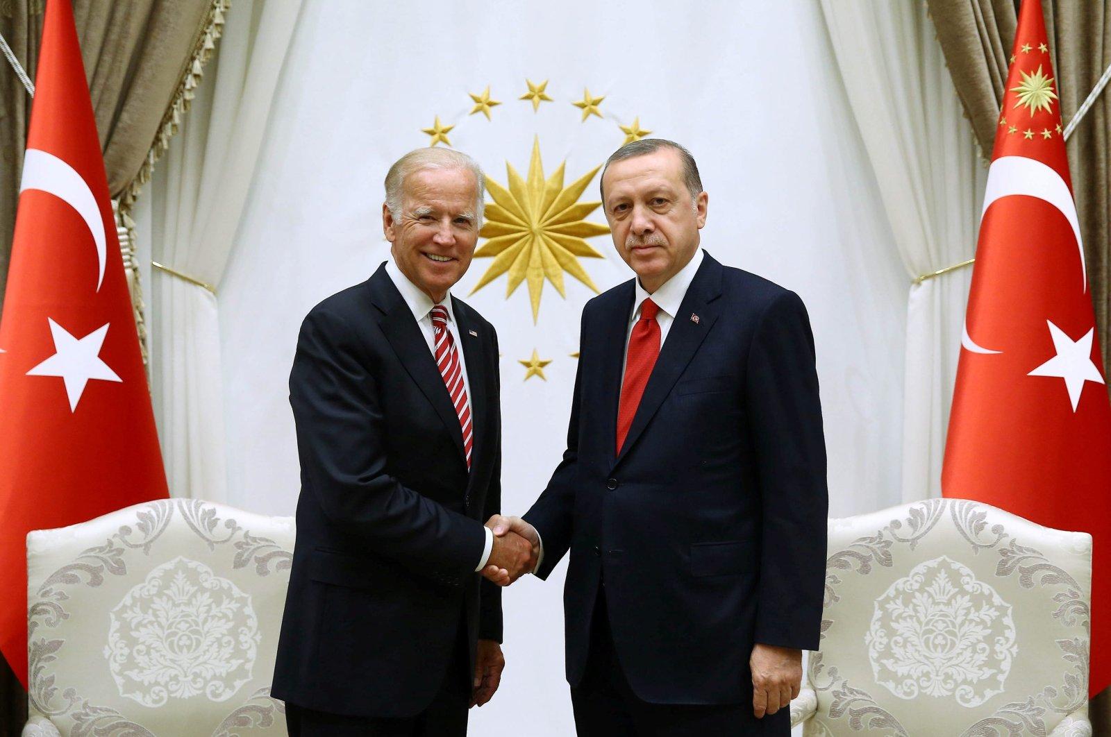 Turkish President Recep Tayyip Erdoğan meets with then-U.S. Vice President Biden at the Presidential Palace in Ankara, Turkey, Aug. 24, 2016. (Reuters Photo)