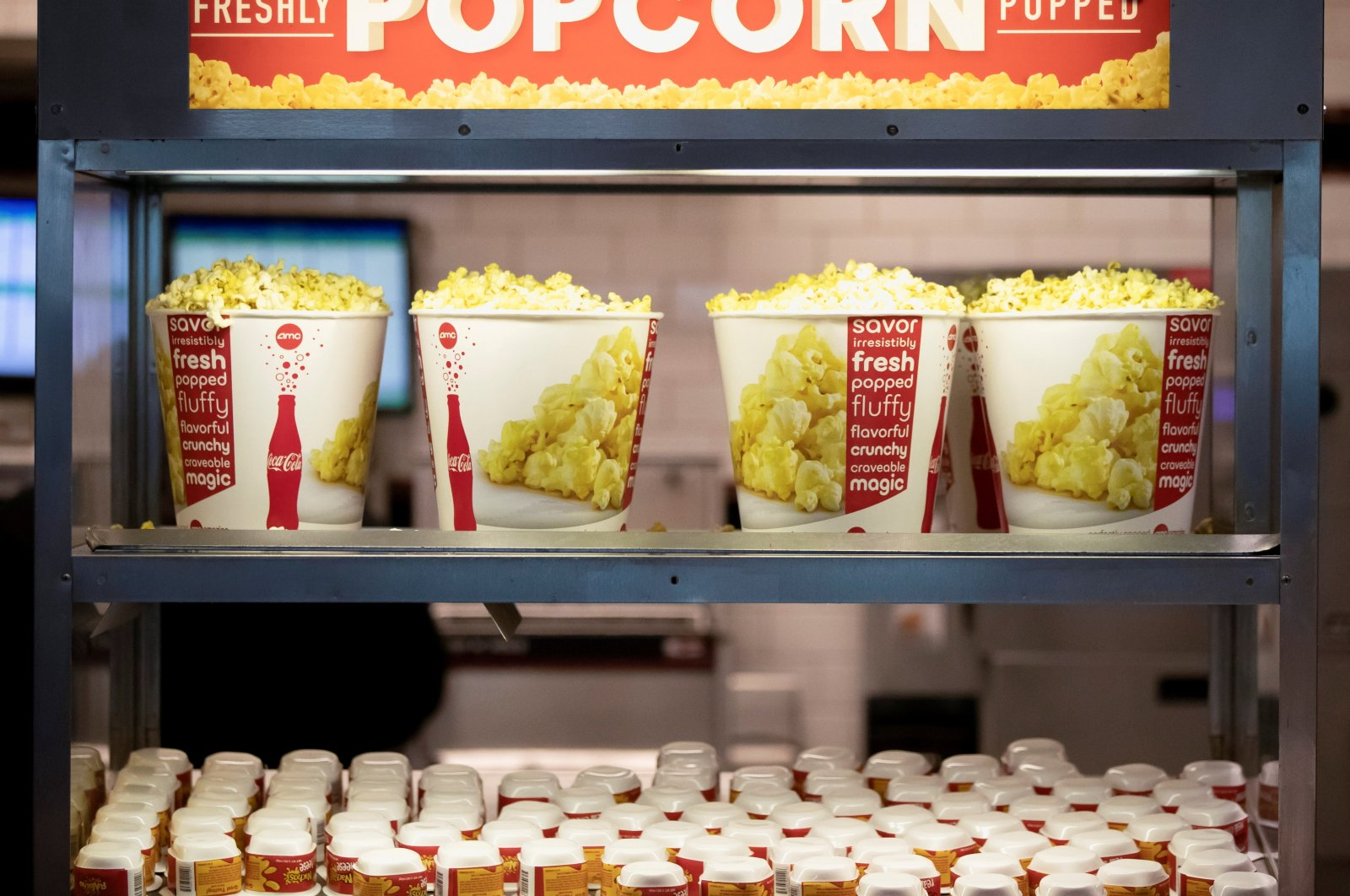 Fresh popcorn is pictured at an AMC theater on reopening day during the COVID-19 outbreak, in Burbank, California, U.S., March 15, 2021. (Reuters Photo)