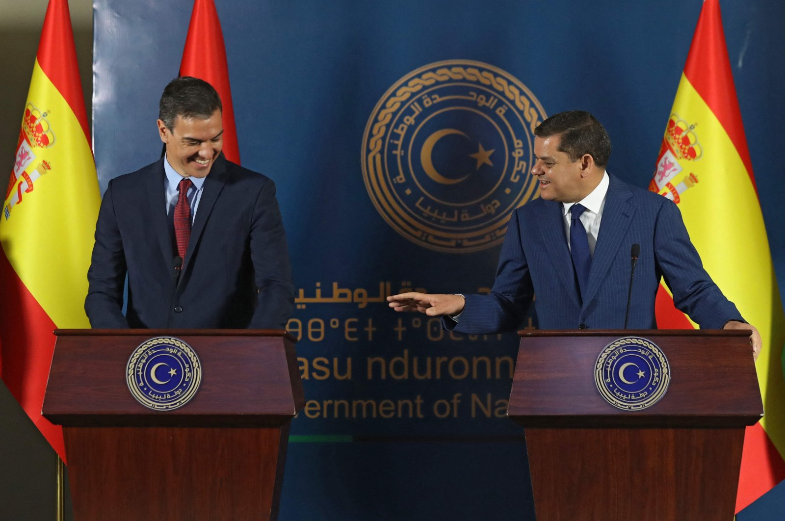 Spanish Prime Minister Pedro Sanchez (L) and his Libyan counterpart Abdulhamid Dbeibah speak during a press conference in the Libyan capital Tripoli on June 3, 2021. (AFP Photo)