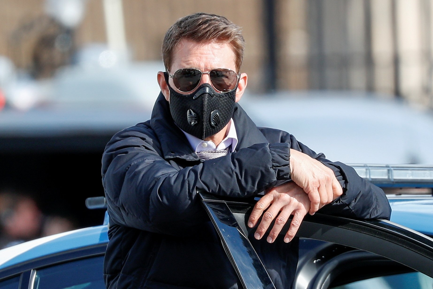 Actor Tom Cruise is seen on the set of 'Mission. Impossible 7' while filming in Rome, Italy, Oct. 13, 2020. (REUTERS Photo)