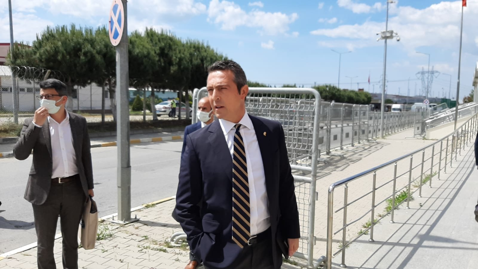 Fenerbahçe Chairperson Ali Koç arrives at the courthouse to watch the trial, in Istanbul, Turkey, June 4, 2021. (DHA PHOTO)