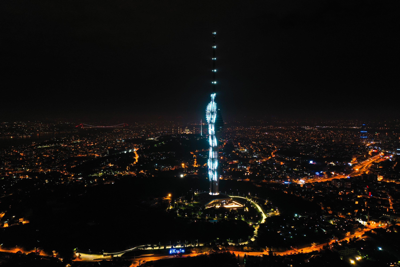 The Çamlıca Tower is seen illuminated at the night in Üsküdar, Istanbul, Turkey, May 29, 2021.