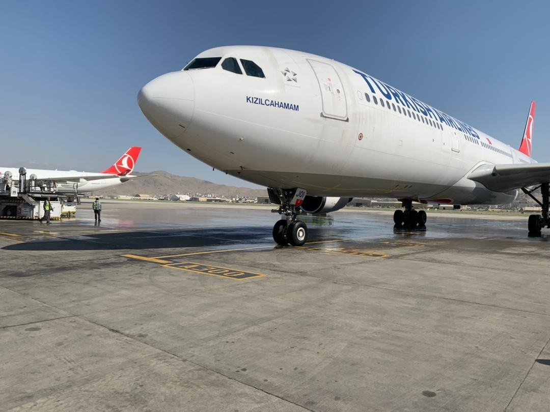 Turkish Airlines planes are parked on a tarmac in Kabul, Afghanistan, June 3, 2021. (AA Photo)
